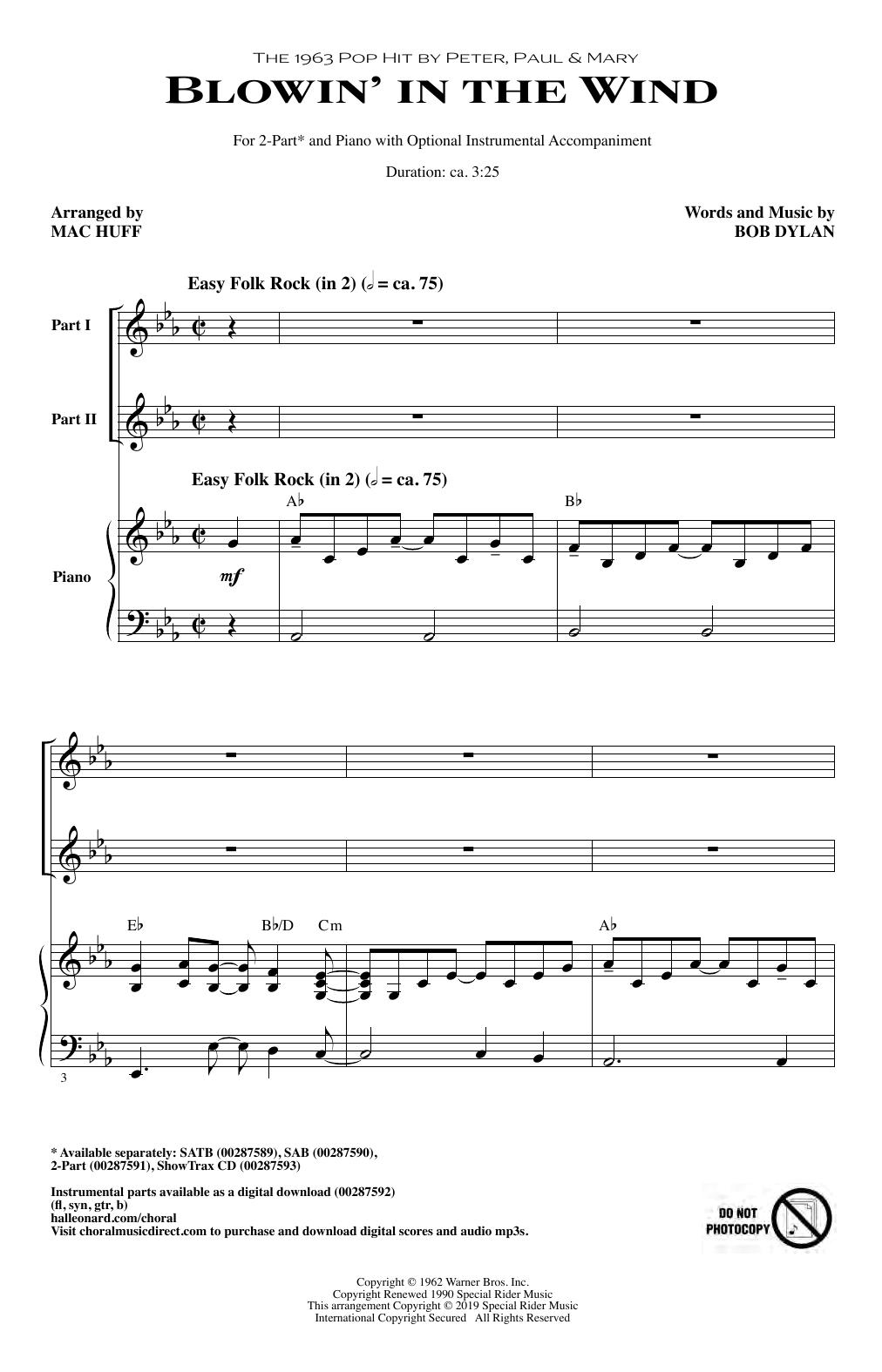 Blowin' In The Wind (arr. Mac Huff) (2-Part Choir)