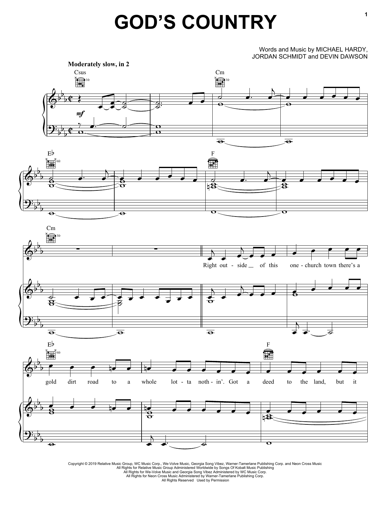 God's Country (Piano, Vocal & Guitar (Right-Hand Melody))