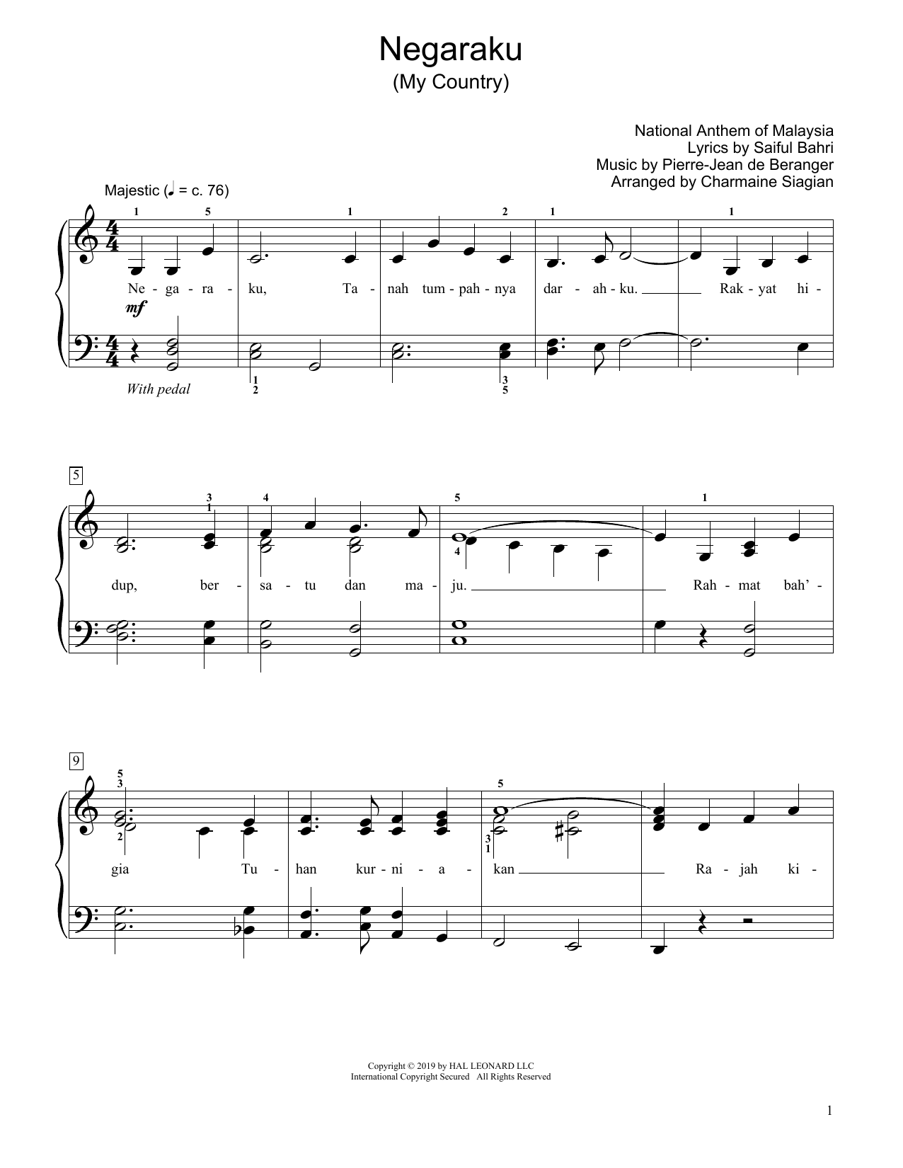 My Country (Negaraku) (arr. Charmaine Siagian) (Educational Piano)