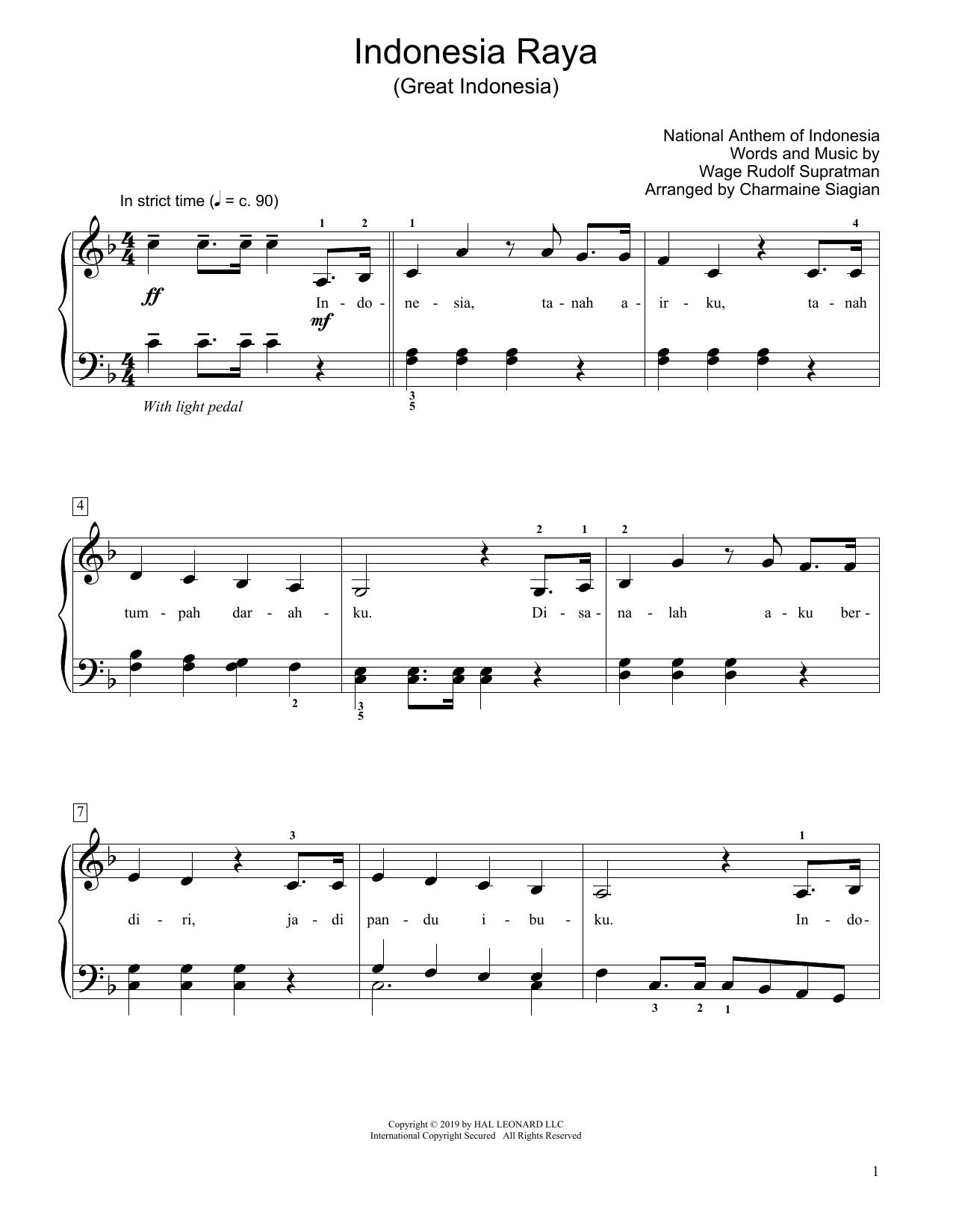 Great Indonesia (Indonesia Raya) (arr. Charmaine Siagian) (Educational Piano)