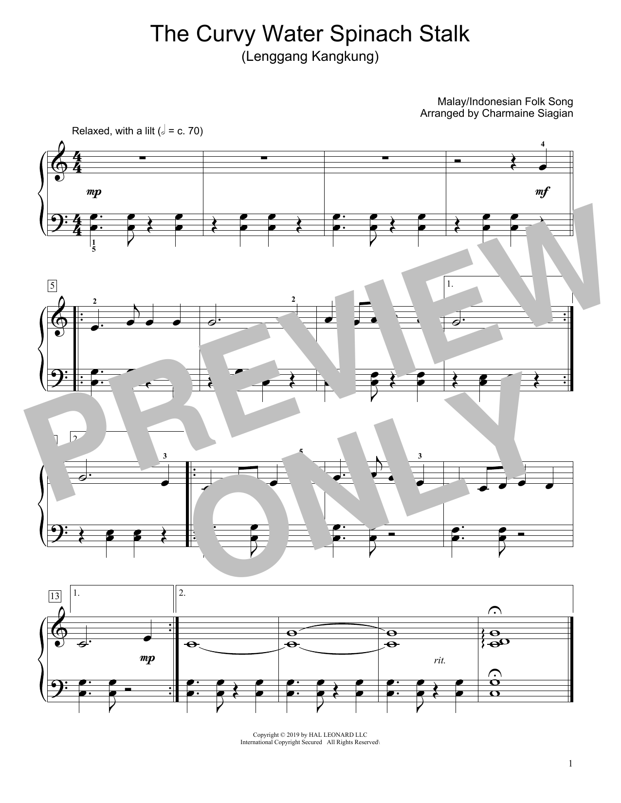 The Curvy Water Spinach Stalk (Lenggang Kangkung) (arr. Charmaine Siagian) (Educational Piano)
