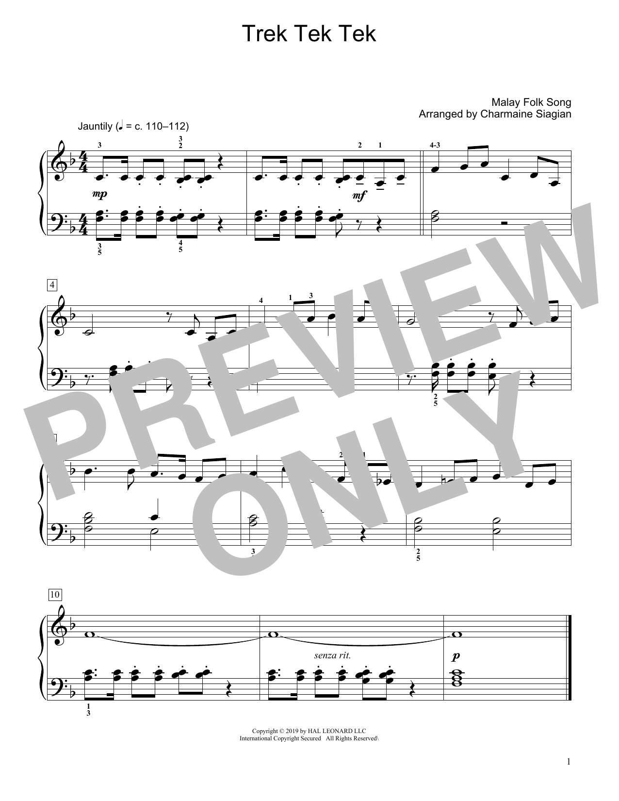 Trek Tek Tek (arr. Charmaine Siagian) (Educational Piano)