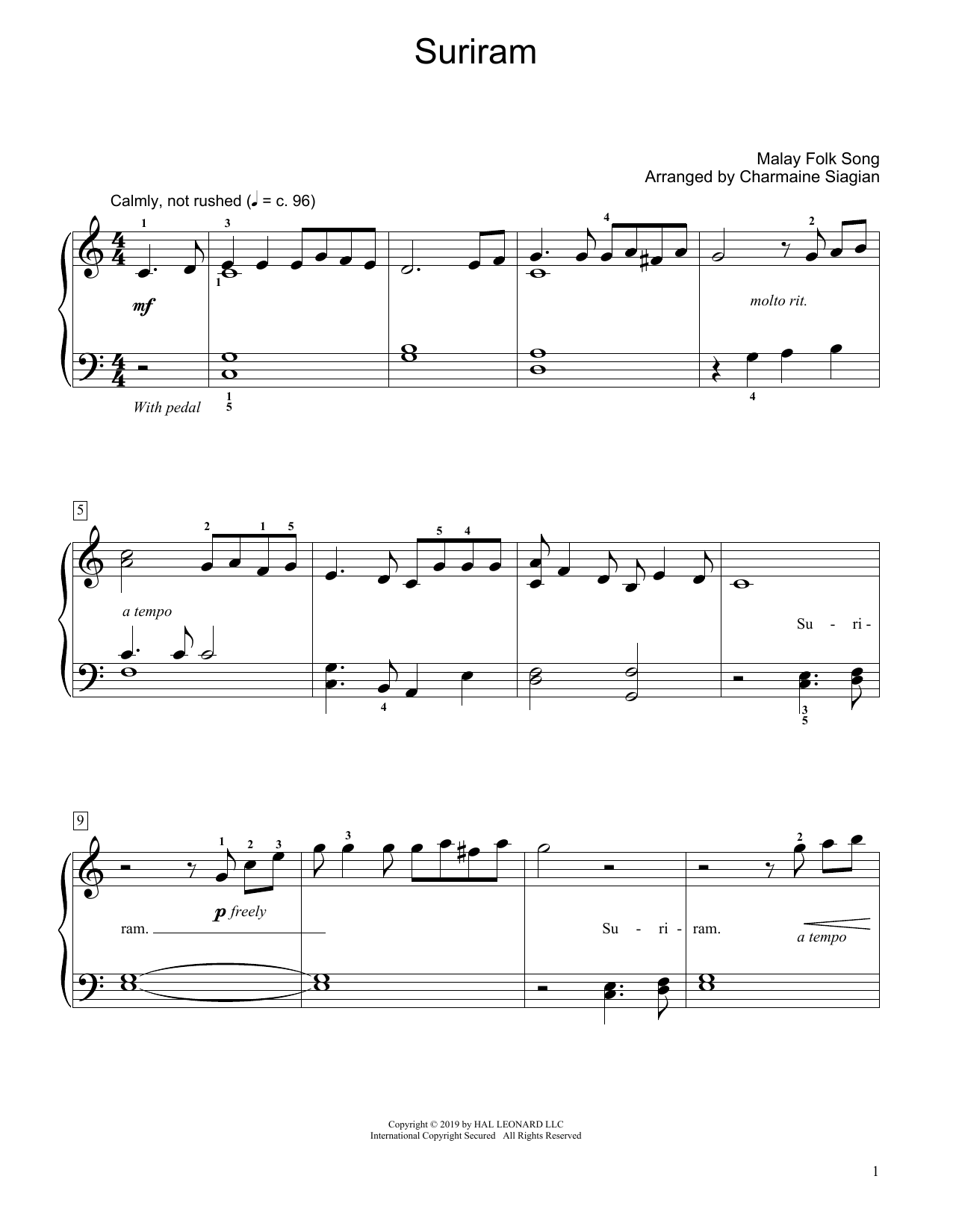Suriram (arr. Charmaine Siagian) (Educational Piano)