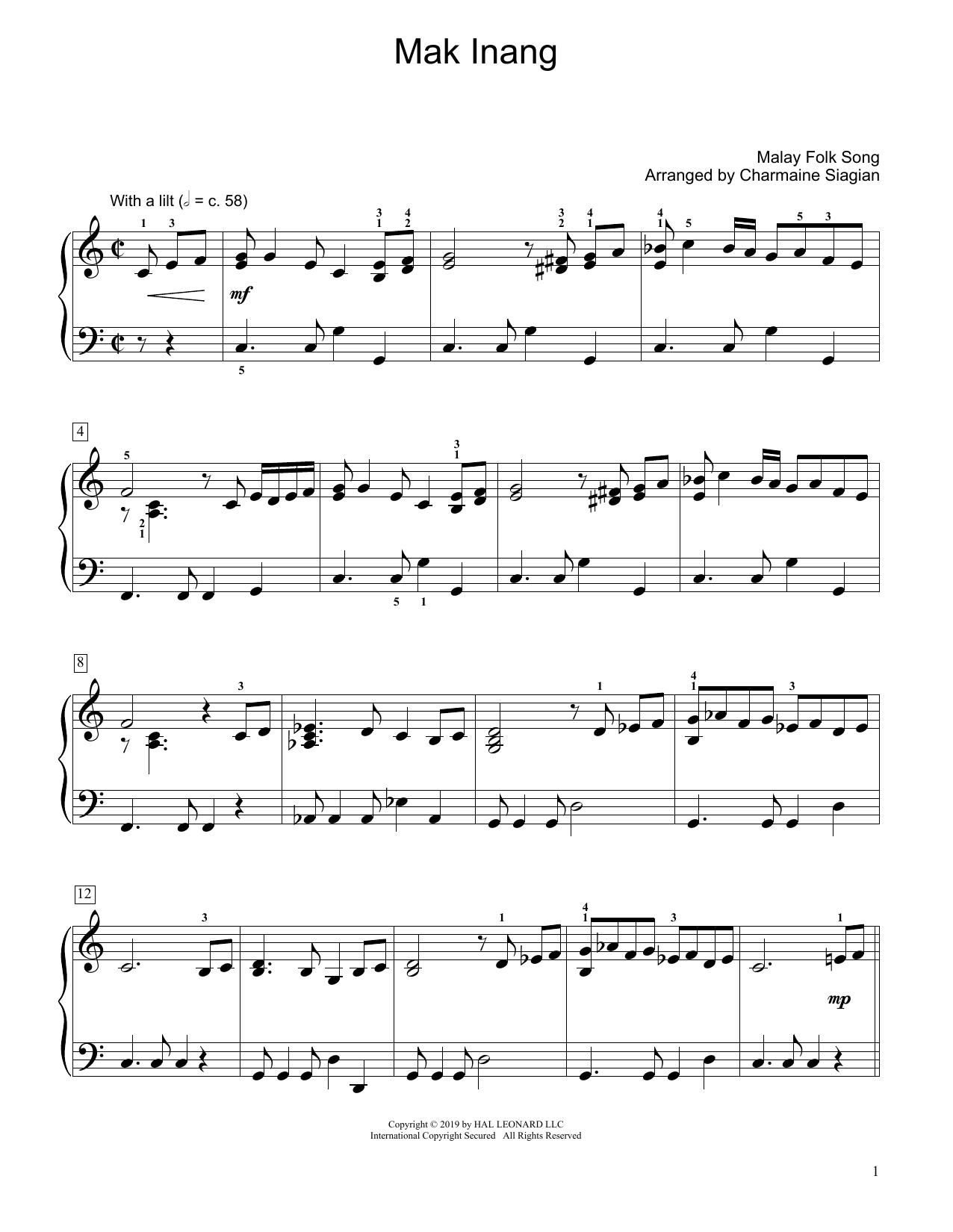 Mak Inang (arr. Charmaine Siagian) (Educational Piano)