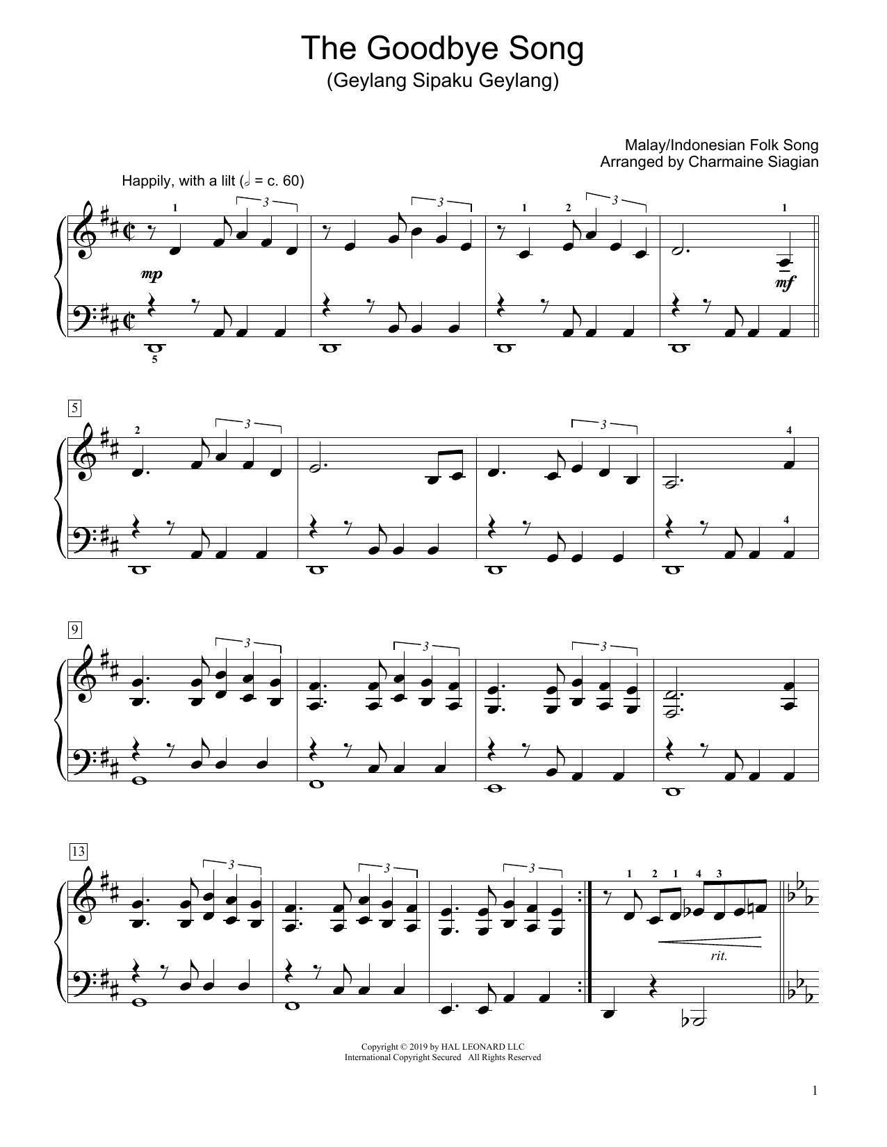 The Goodbye Song (Geylang Sipaku Geylang) (arr. Charmaine Siagian) (Educational Piano)