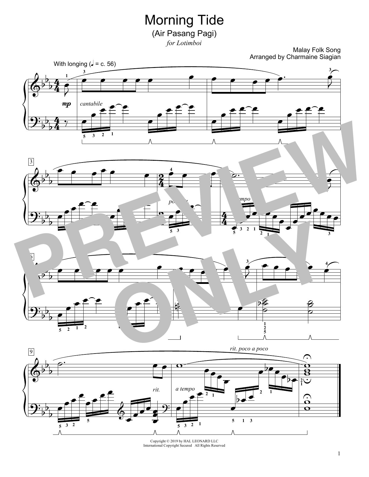 Morning Tide (Air Pasang Pagi) (arr. Charmaine Siagian) (Educational Piano)