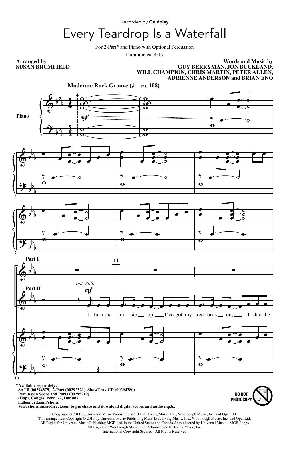 Every Teardrop Is A Waterfall (arr. Susan Brumfield) (2-Part Choir)