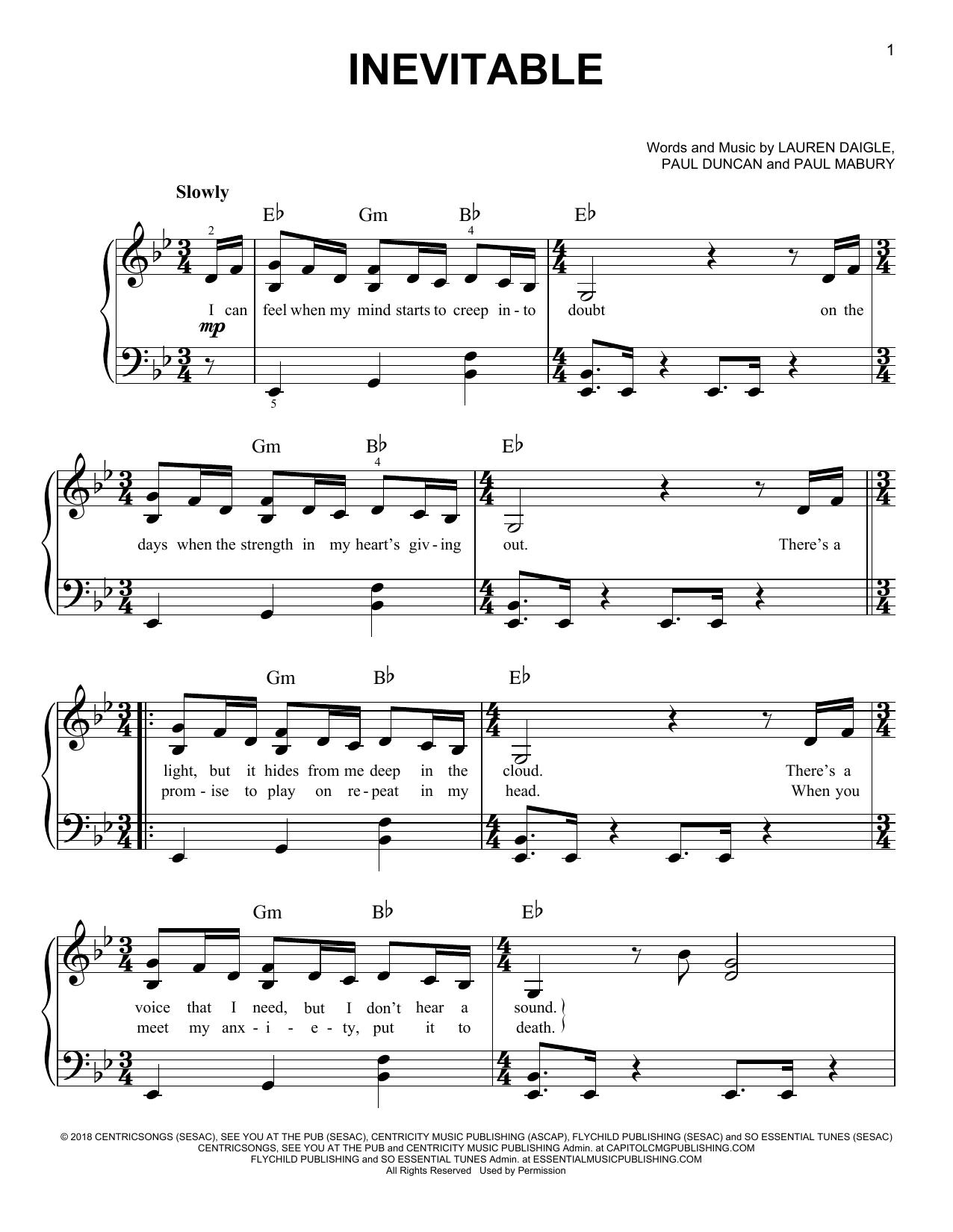 Inevitable (Easy Piano)