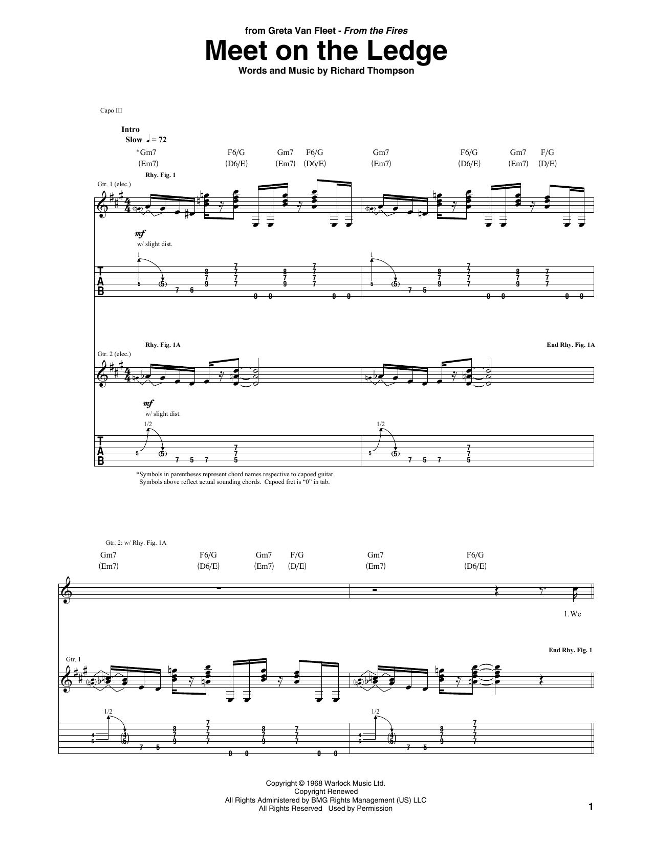 Meet On The Ledge (Guitar Tab)