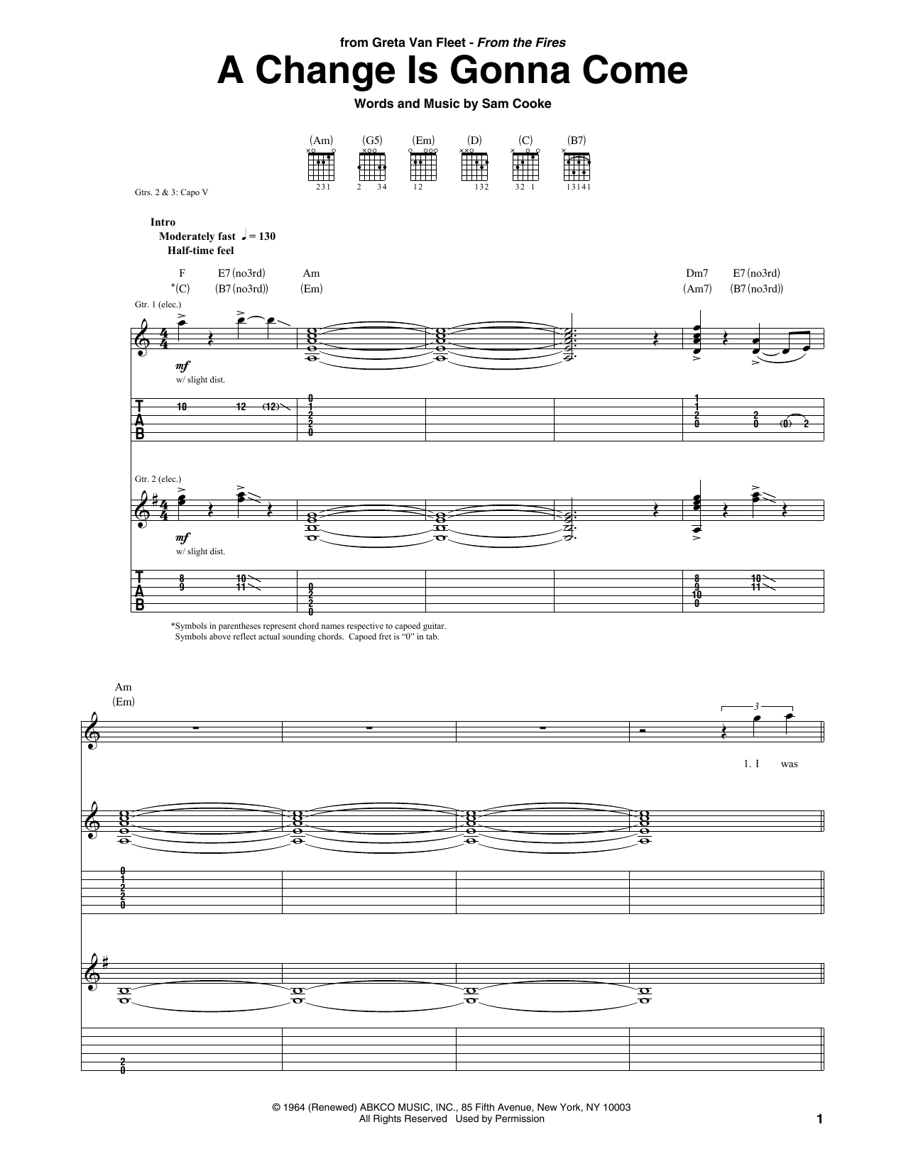 A Change Is Gonna Come (Guitar Tab)