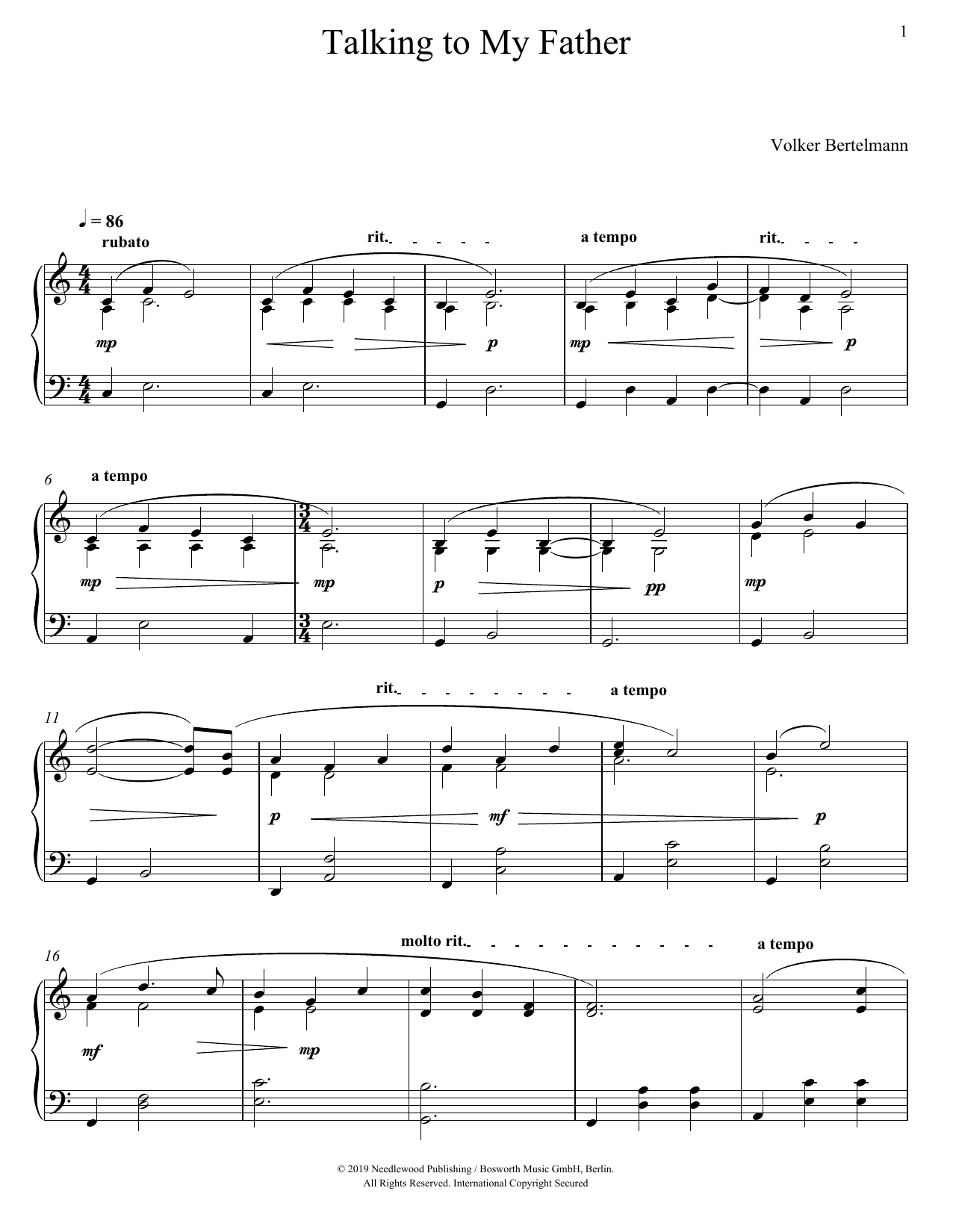 Talking To My Father (Piano Solo)