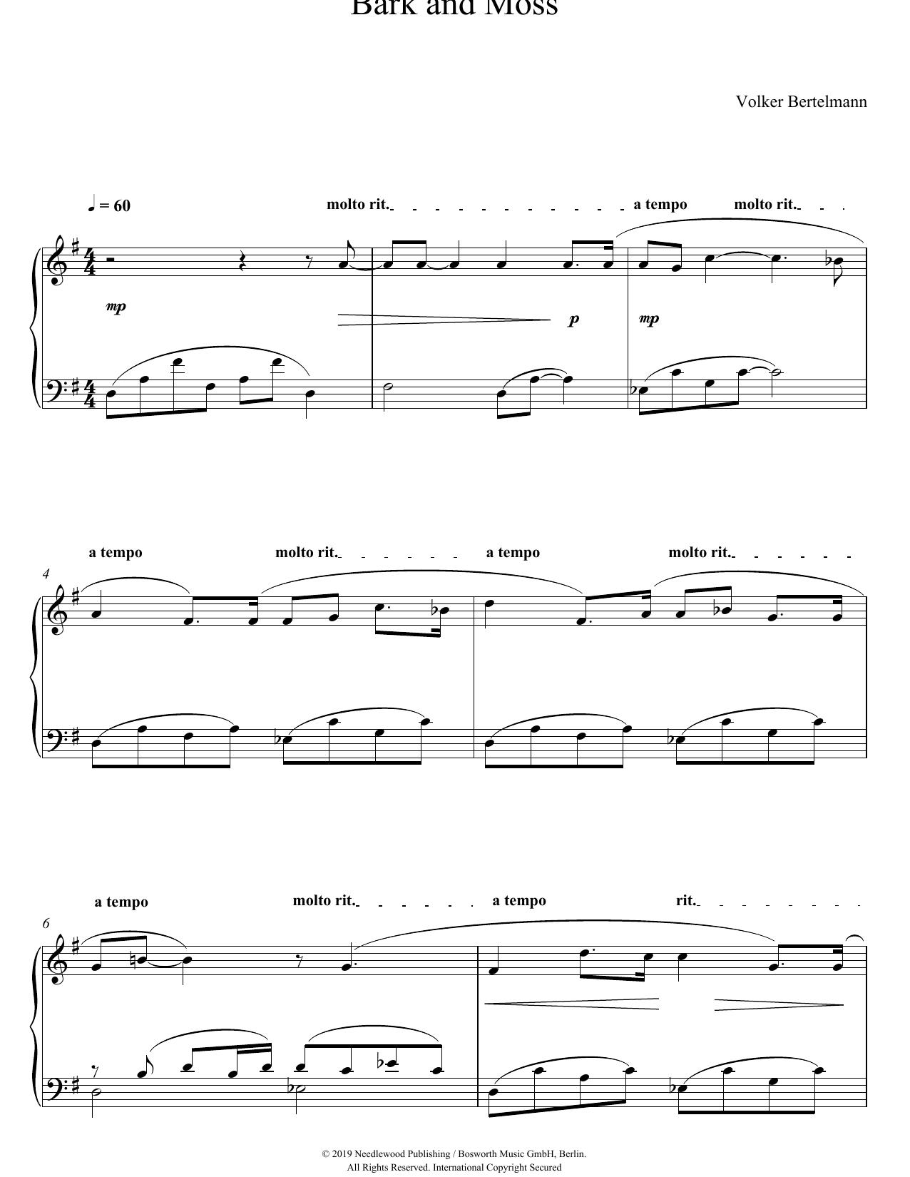 Bark And Moss (Piano Solo)