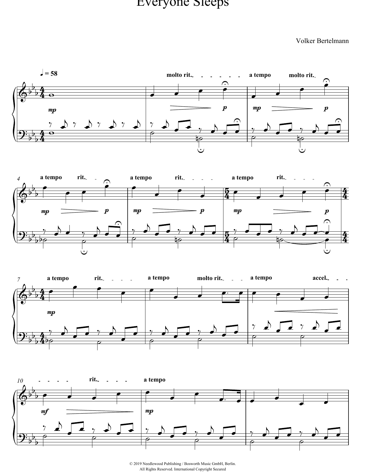 Everyone Sleeps (Piano Solo)