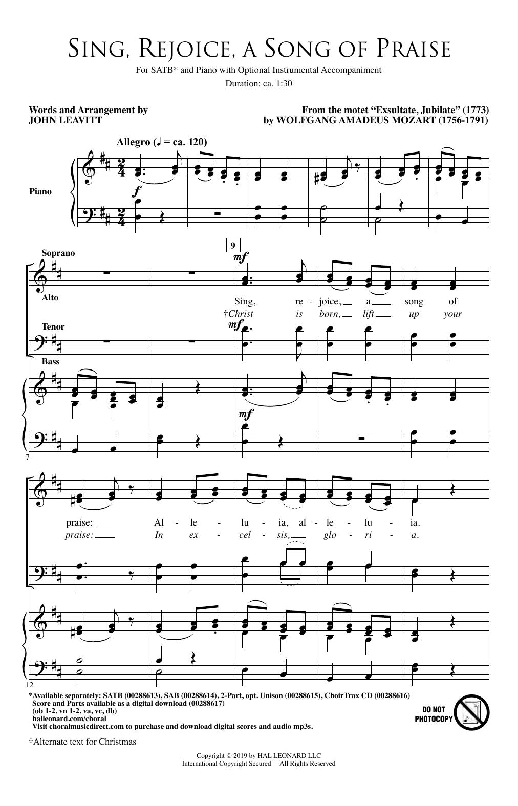 Sing, Rejoice A Song Of Praise (arr. John Leavitt) (SATB Choir)