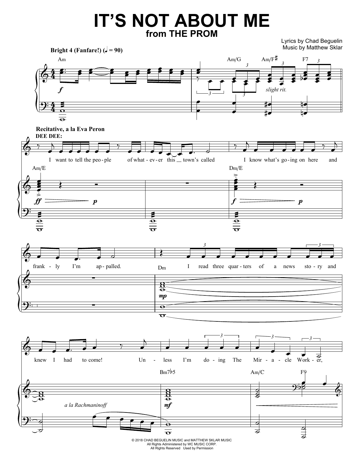 It's Not About Me (from The Prom: A New Musical) Sheet Music