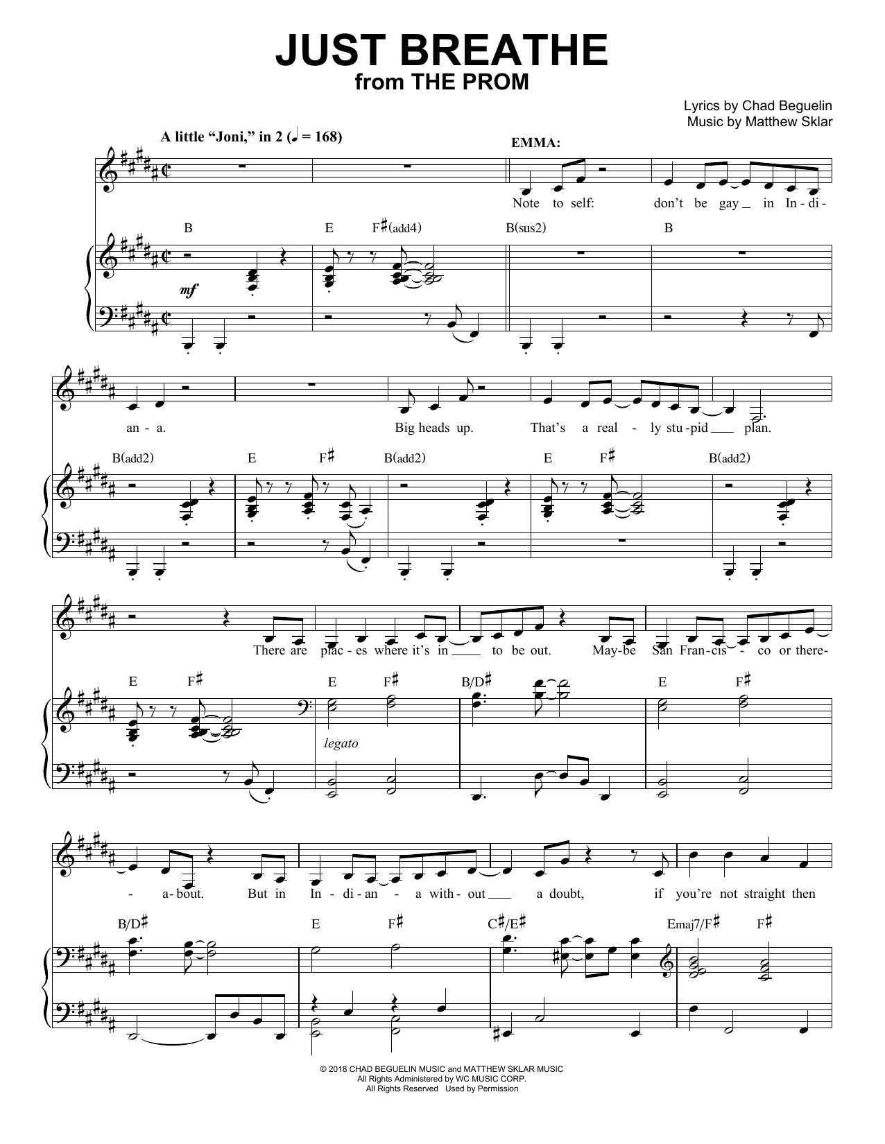 Just Breathe (from The Prom: A New Musical) Sheet Music
