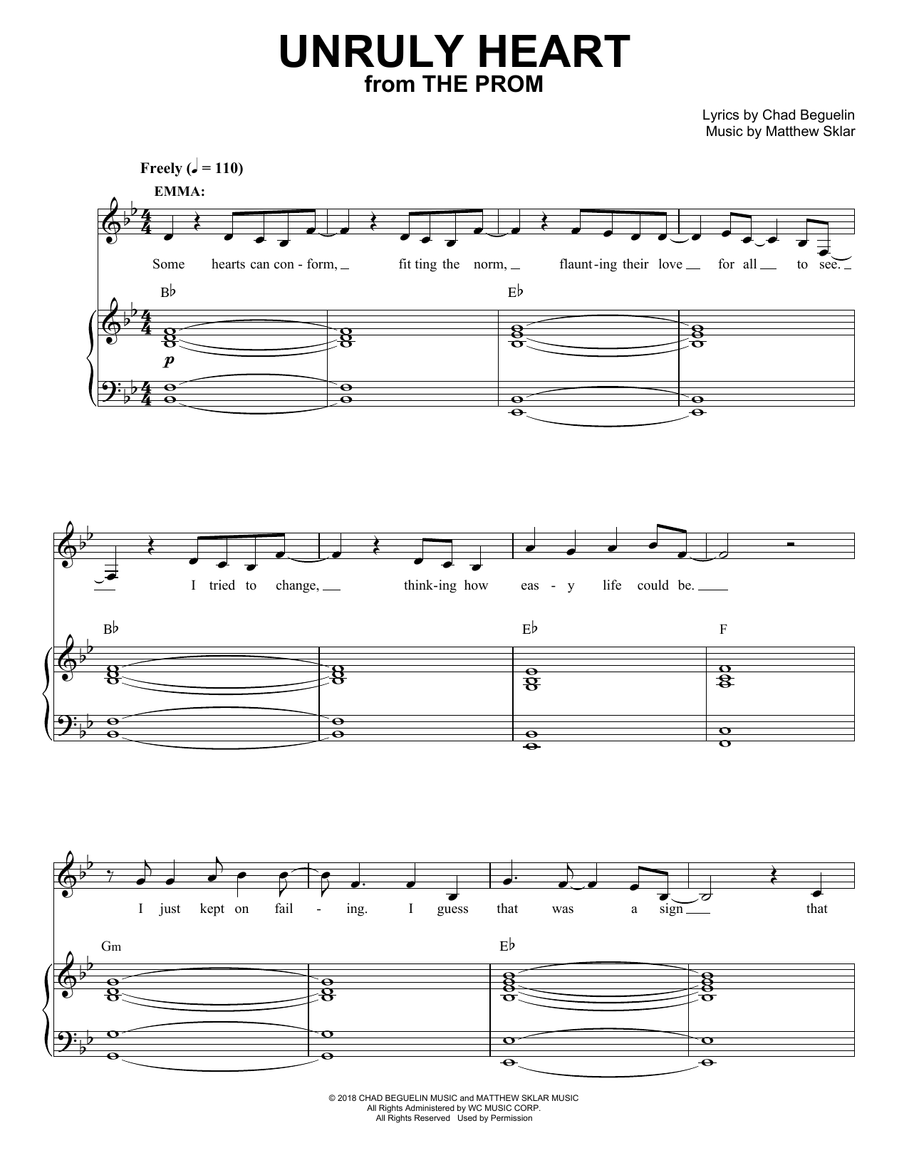 Unruly Heart (from The Prom: A New Musical) Sheet Music
