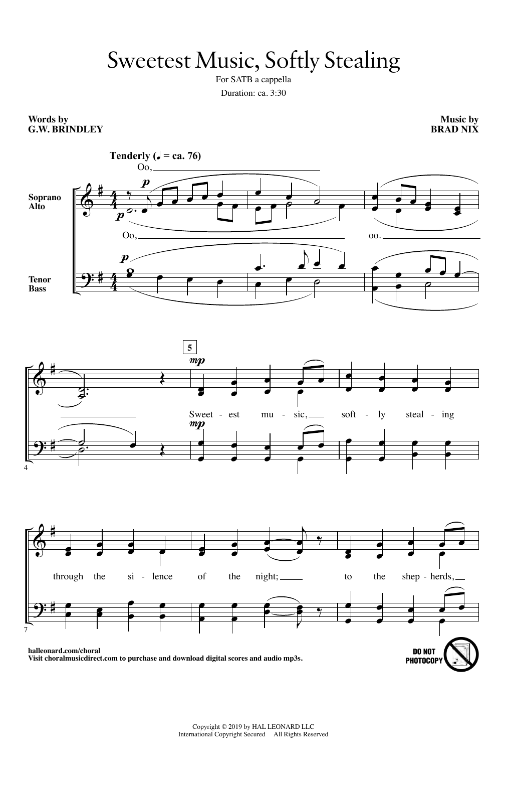 Sweetest Music, Softly Stealing (SATB Choir)