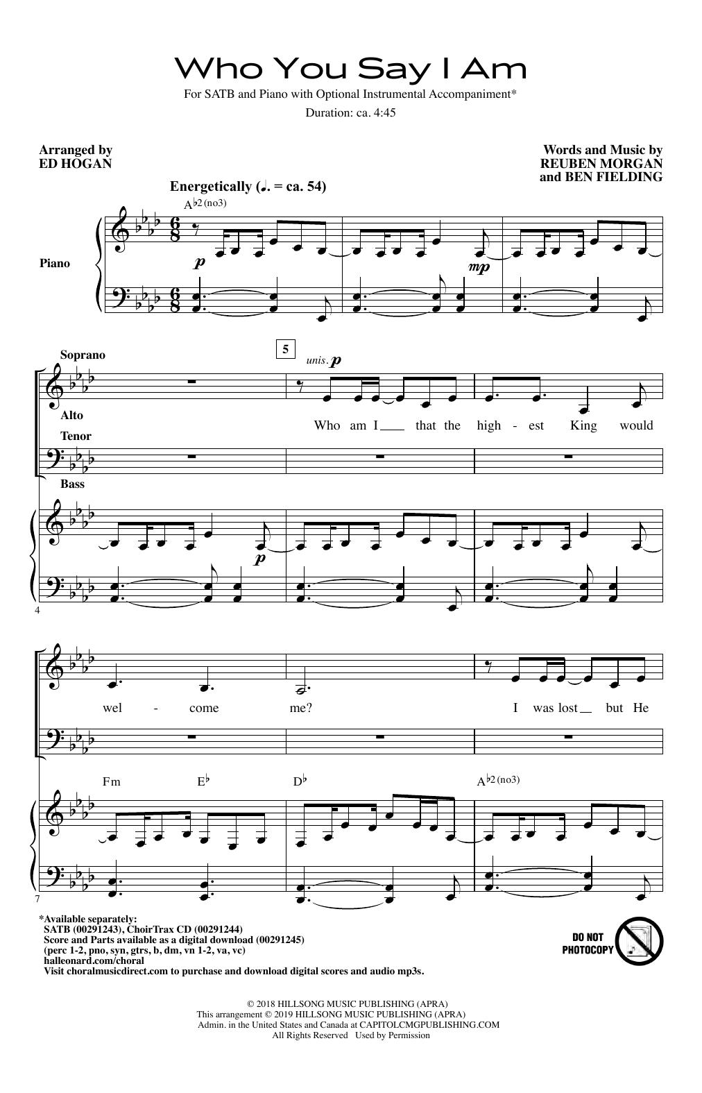 Who You Say I Am (arr  Ed Hogan) by Hillsong Worship Choir Instrumental Pak  Ensemble