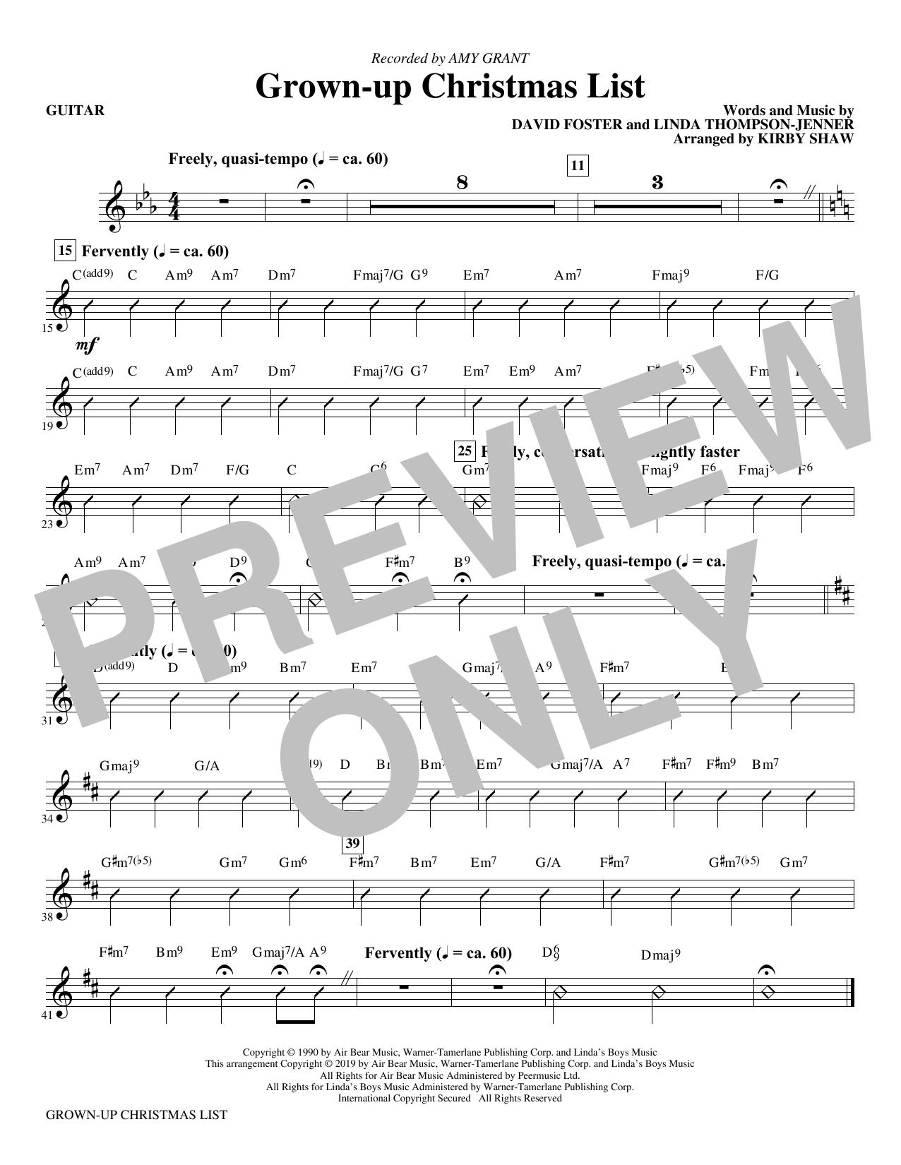 Grown-Up Christmas List (arr. Kirby Shaw) - Guitar (Choir Instrumental Pak)