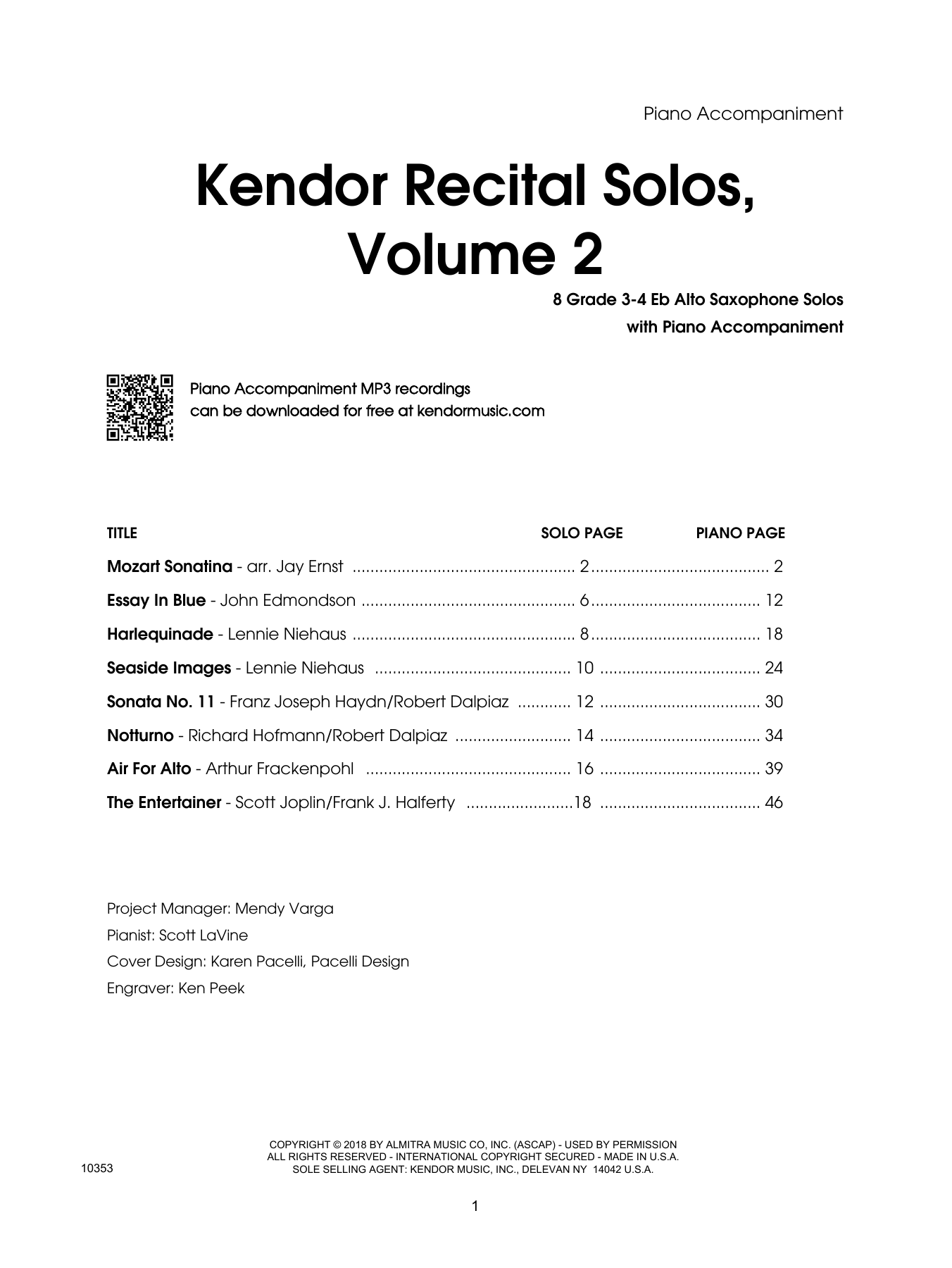 Kendor Recital Solos, Volume 2 - Piano Accompaniment Digitale Noten