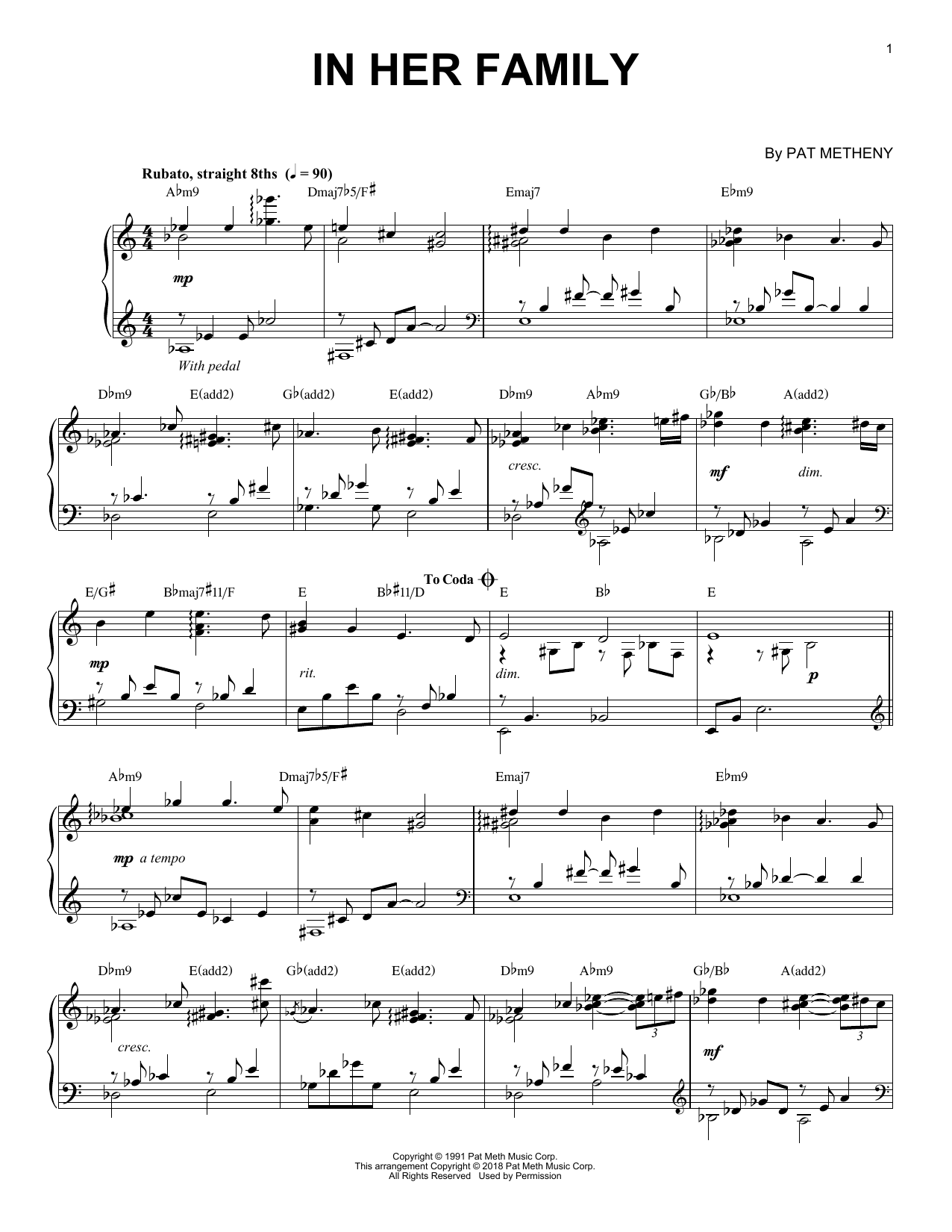 In Her Family (Piano Solo)