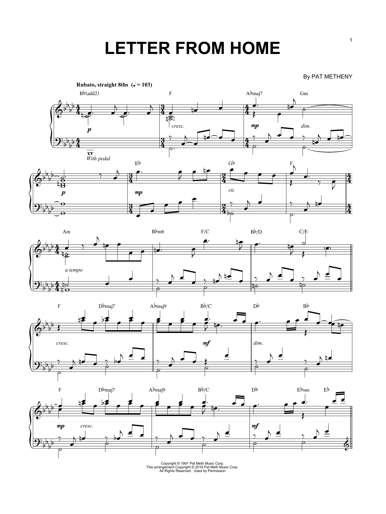Letter From Home (Piano Solo)