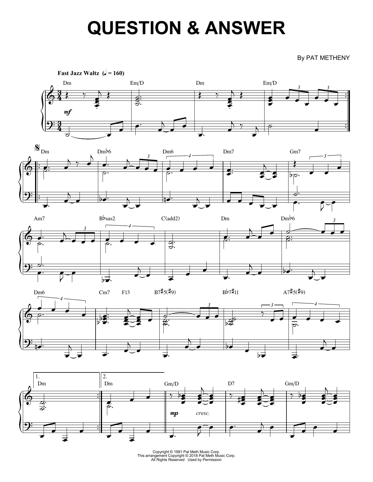 Question & Answer (Piano Solo) - Print Sheet Music Now
