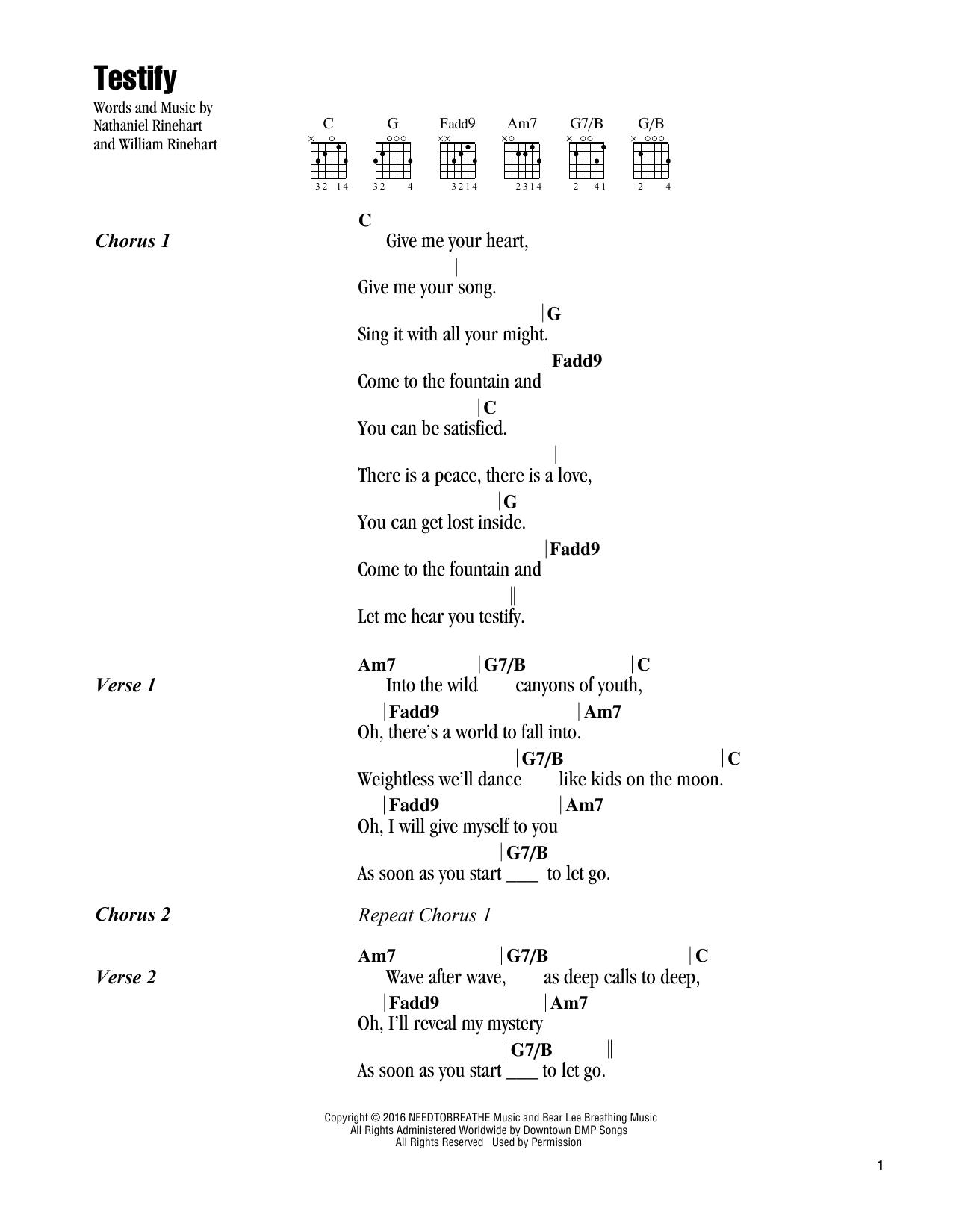 Testify (Guitar Chords/Lyrics)