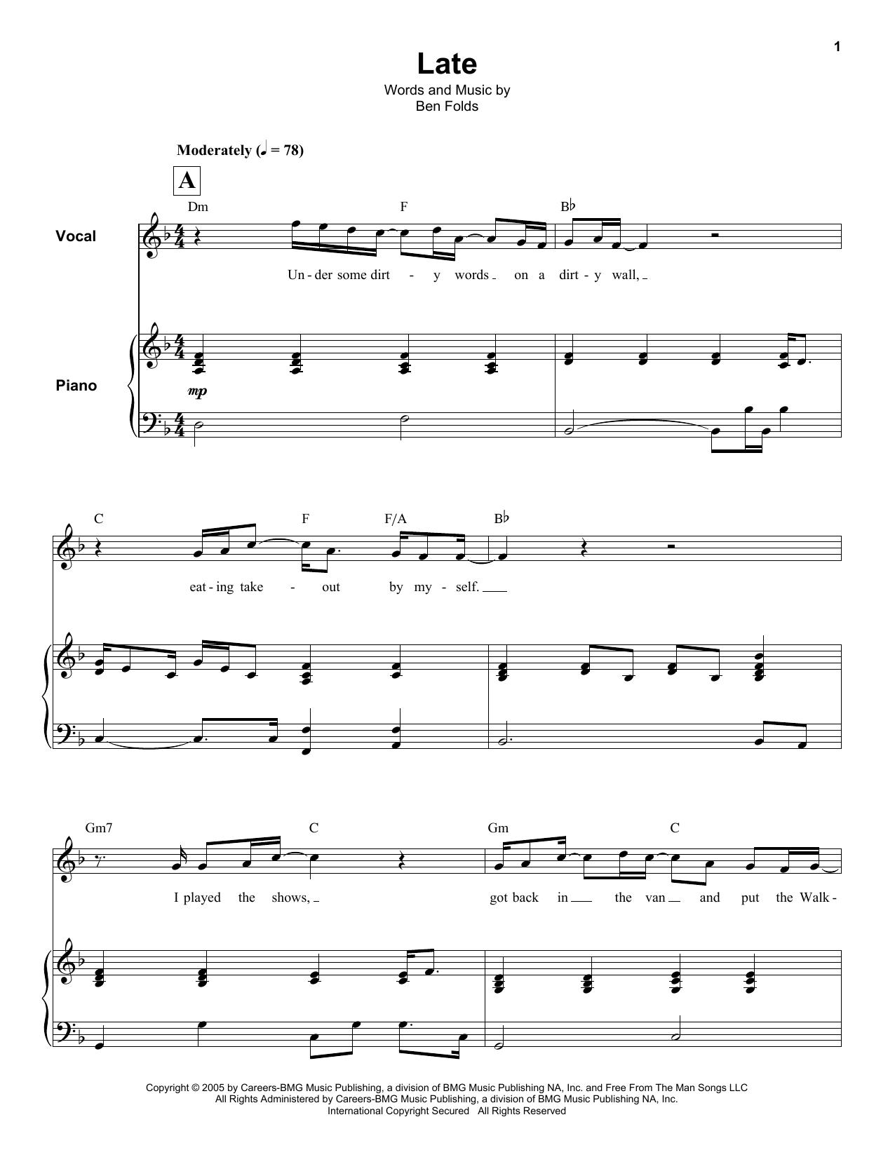 Late Sheet Music