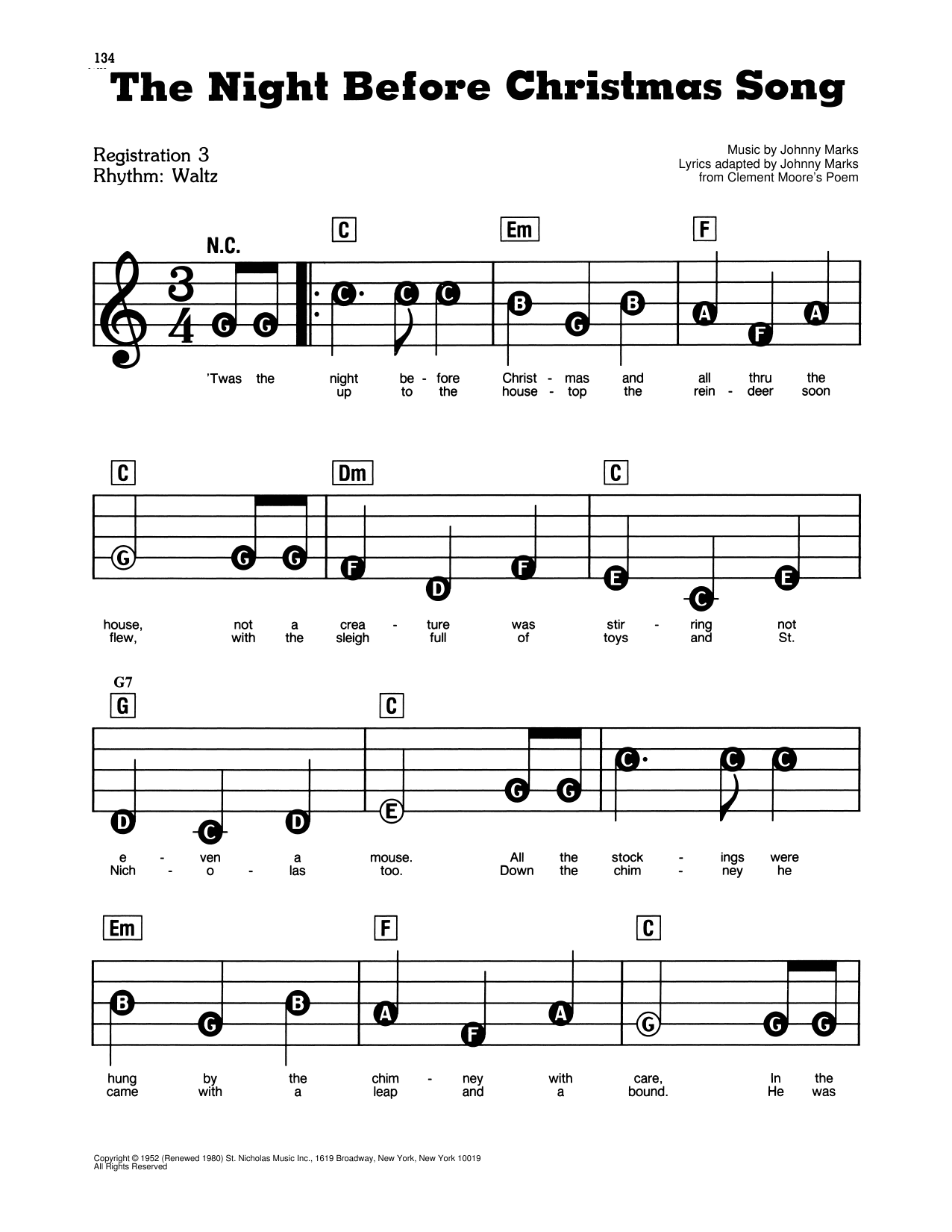 The Night Before Christmas Song Sheet Music