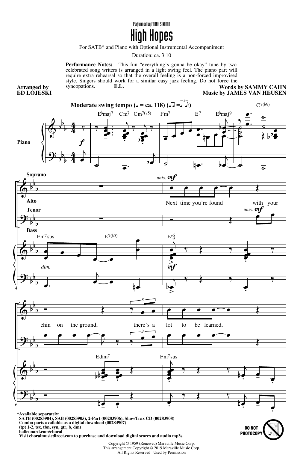 High Hopes (arr. Ed Lojeski) (SATB Choir)