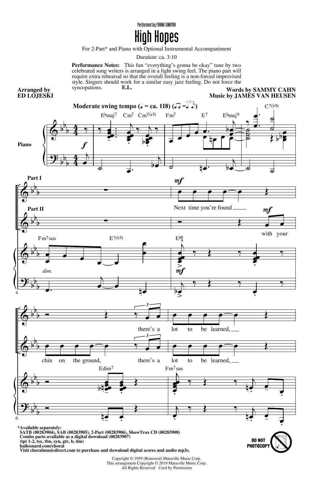 High Hopes (arr. Ed Lojeski) (2-Part Choir)