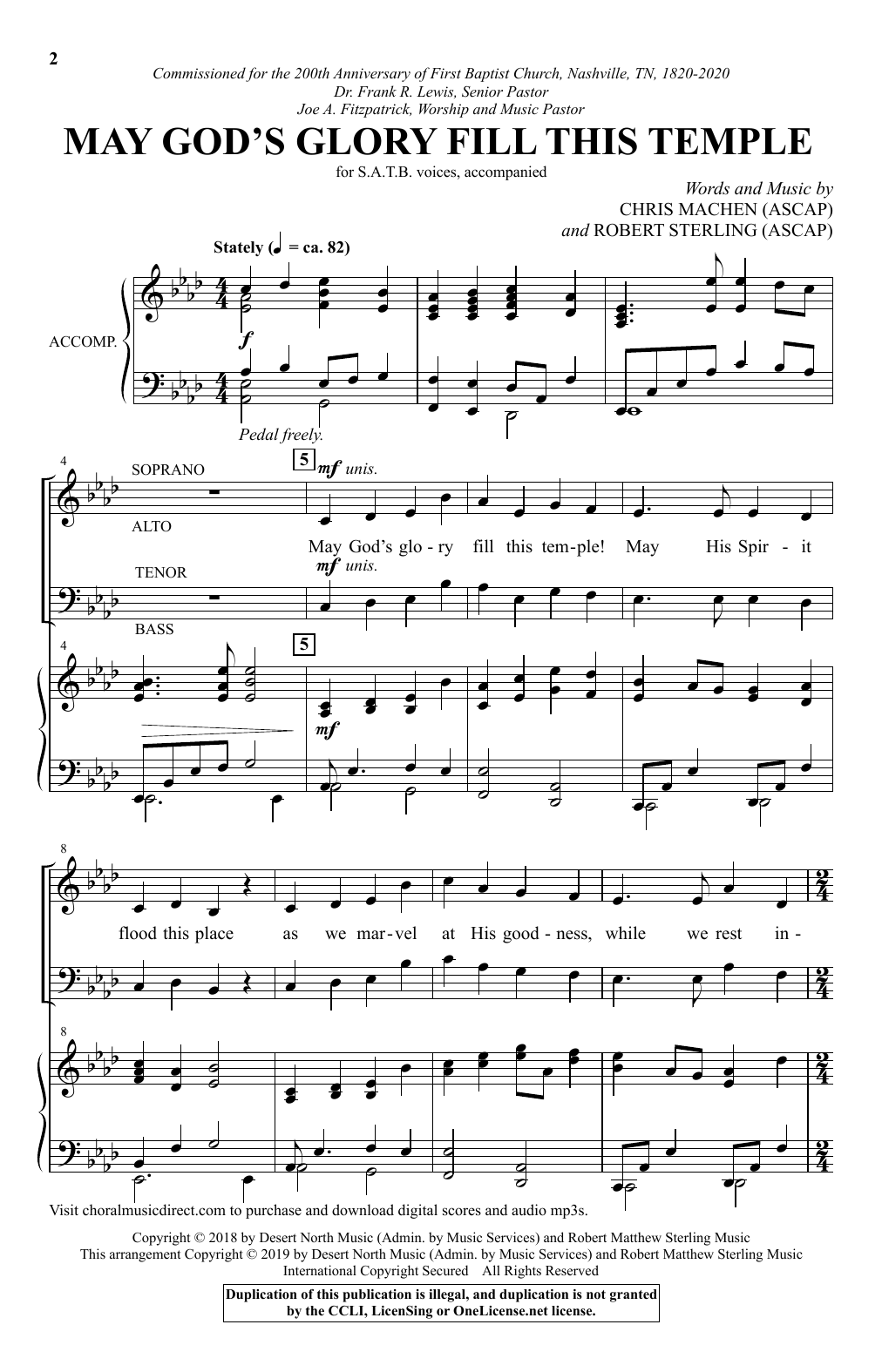 May God's Glory Fill This Temple (SATB Choir)