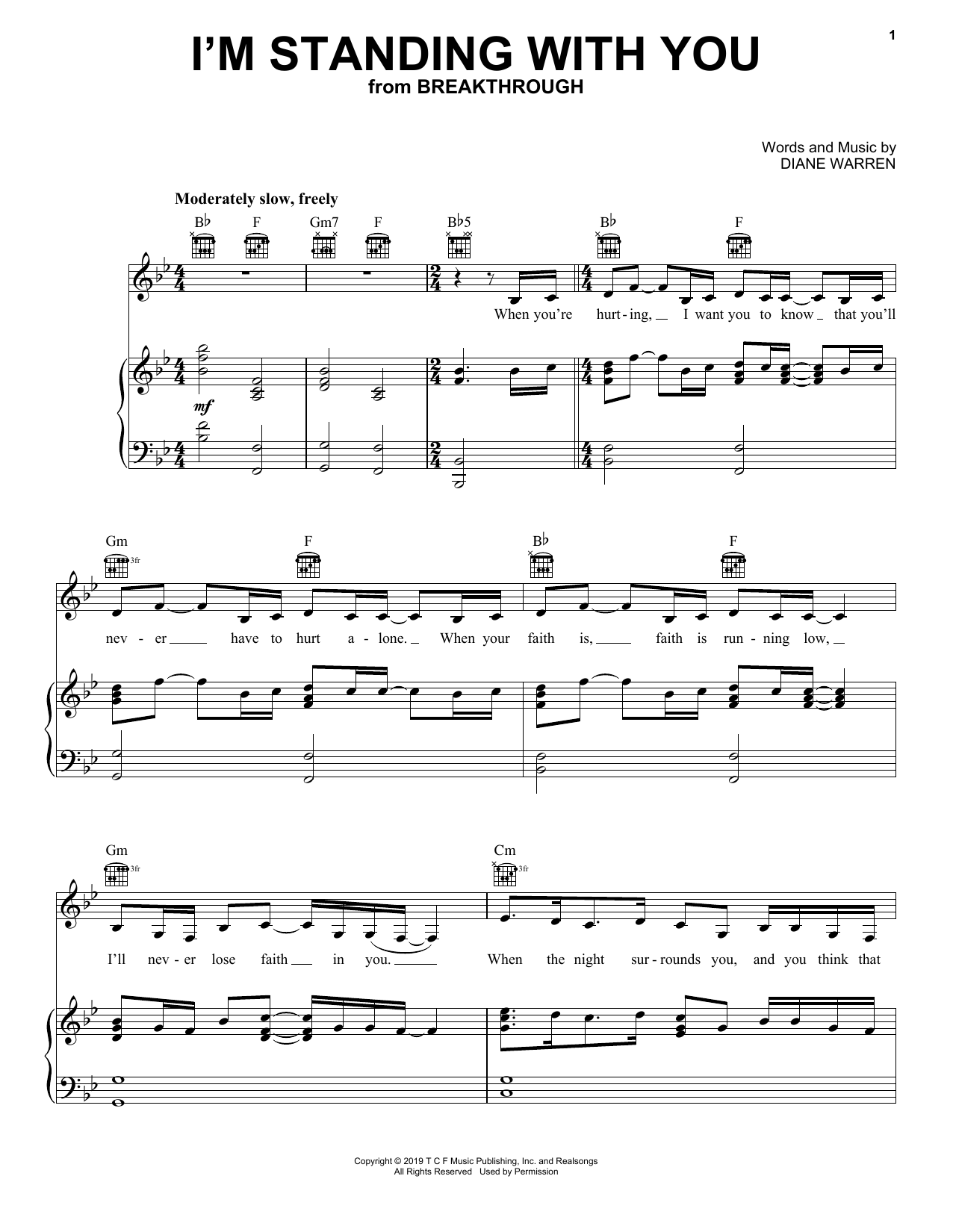 I'm Standing With You (from Breakthrough) (Piano, Vocal & Guitar (Right-Hand Melody))