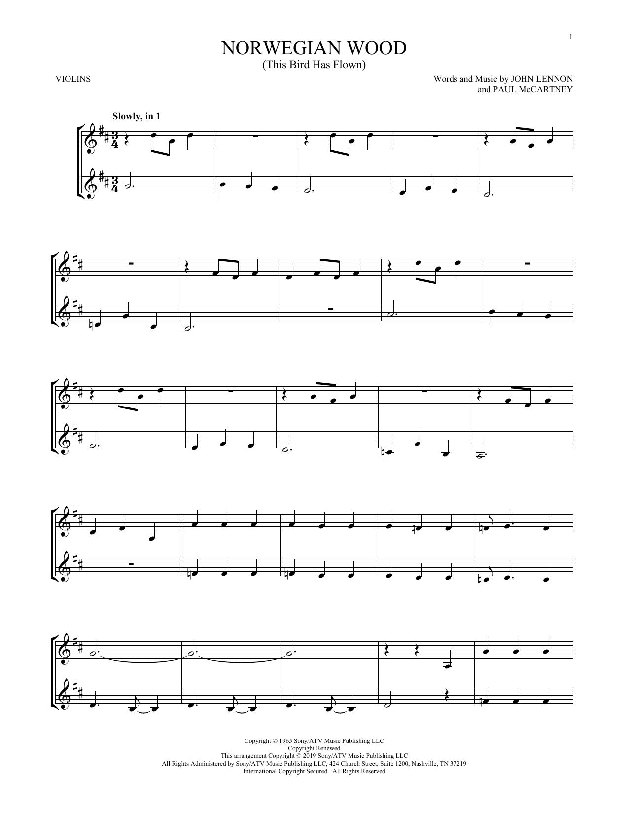 Norwegian Wood (This Bird Has Flown) (Violin Duet)
