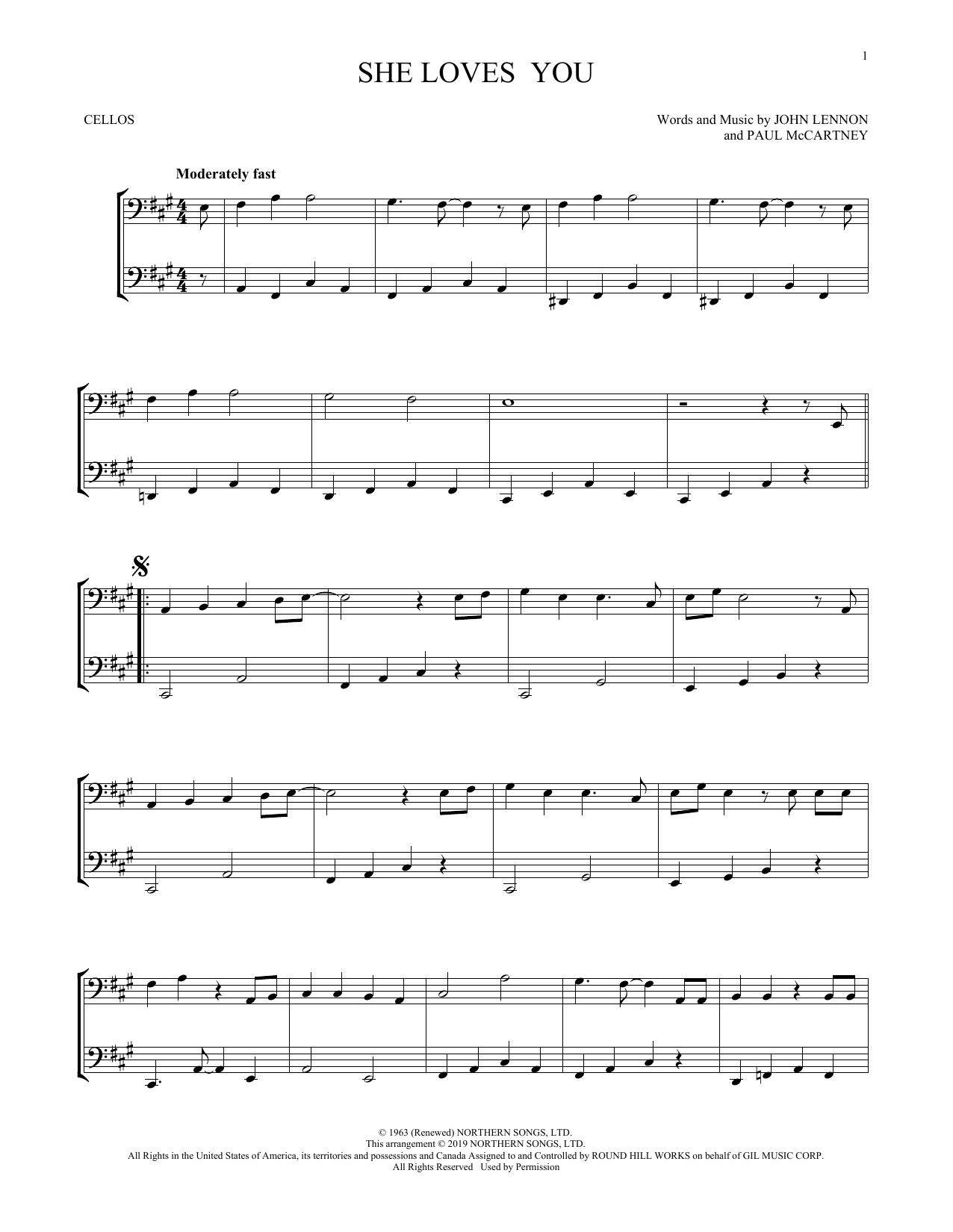 She Loves You (arr. Mark Phillips) (Cello Duet)
