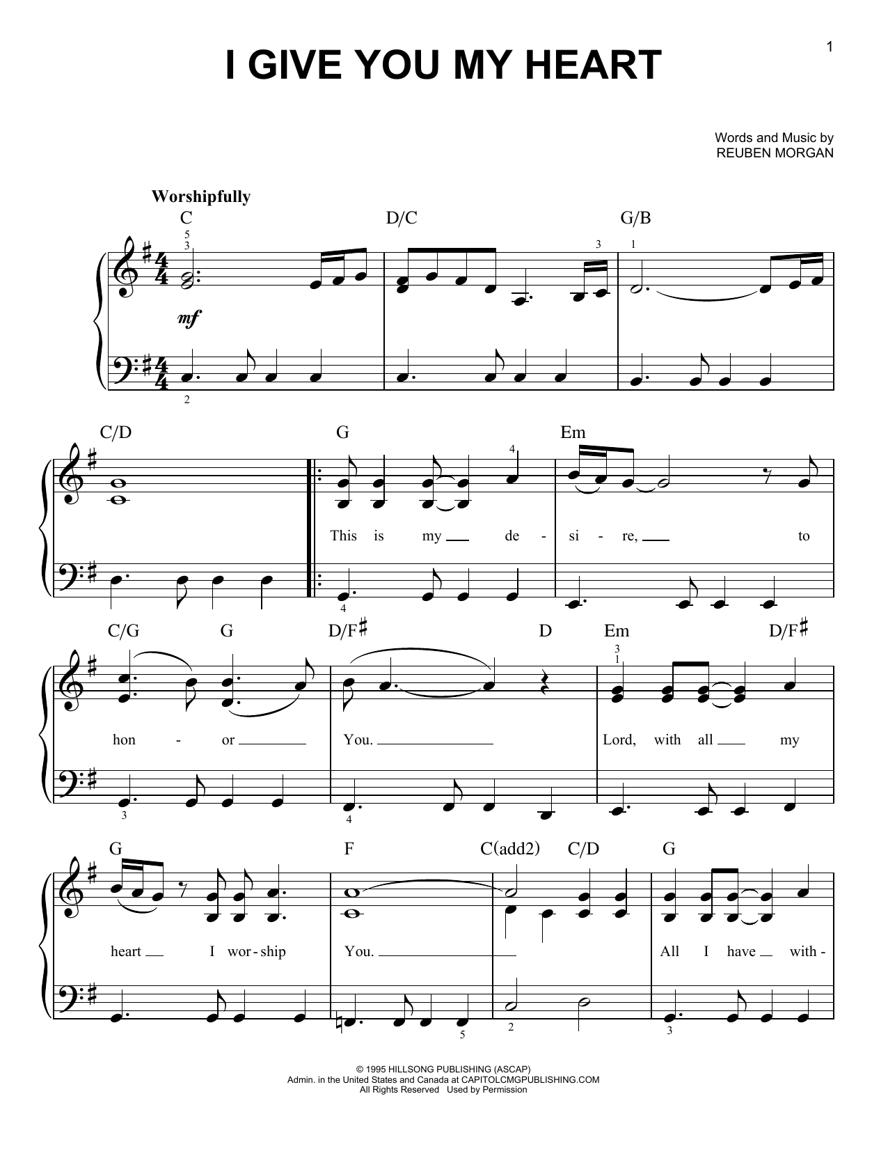 I Give You My Heart (Very Easy Piano)