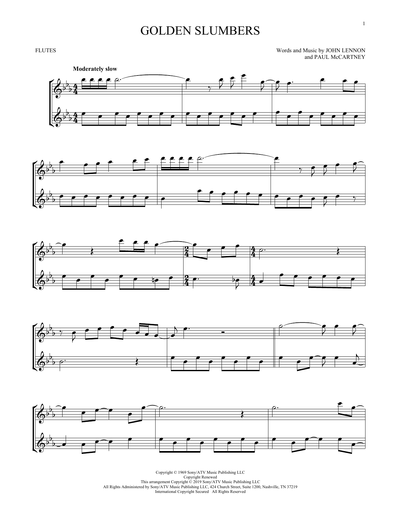 Golden Slumbers (Flute Duet)