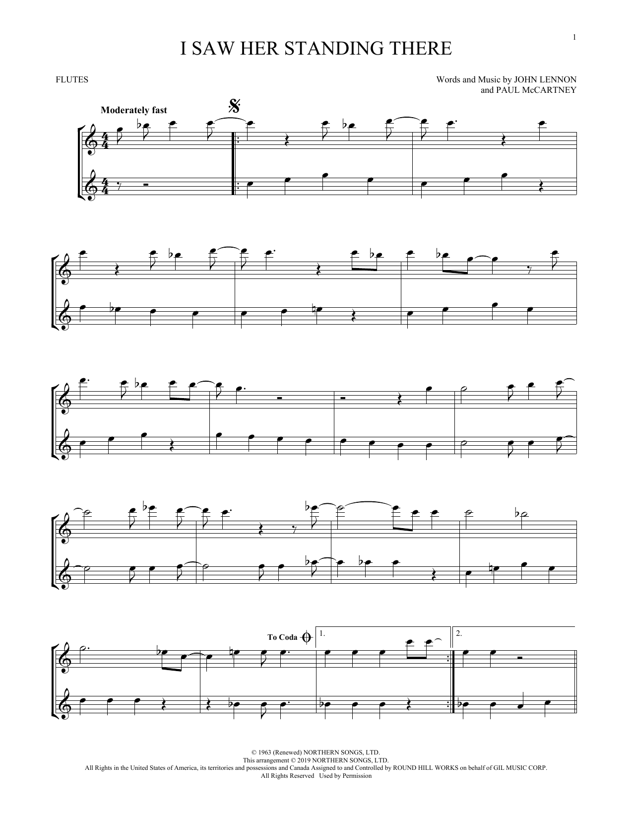 I Saw Her Standing There (arr. Mark Phillips) (Flute Duet)