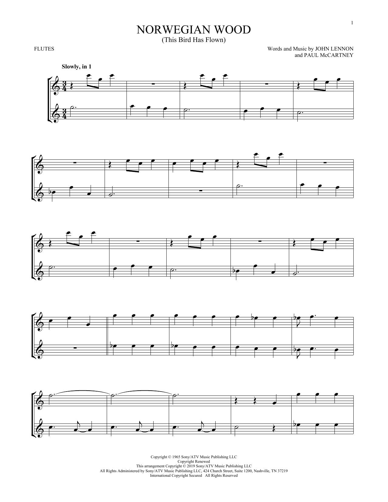 Norwegian Wood (This Bird Has Flown) (Flute Duet)
