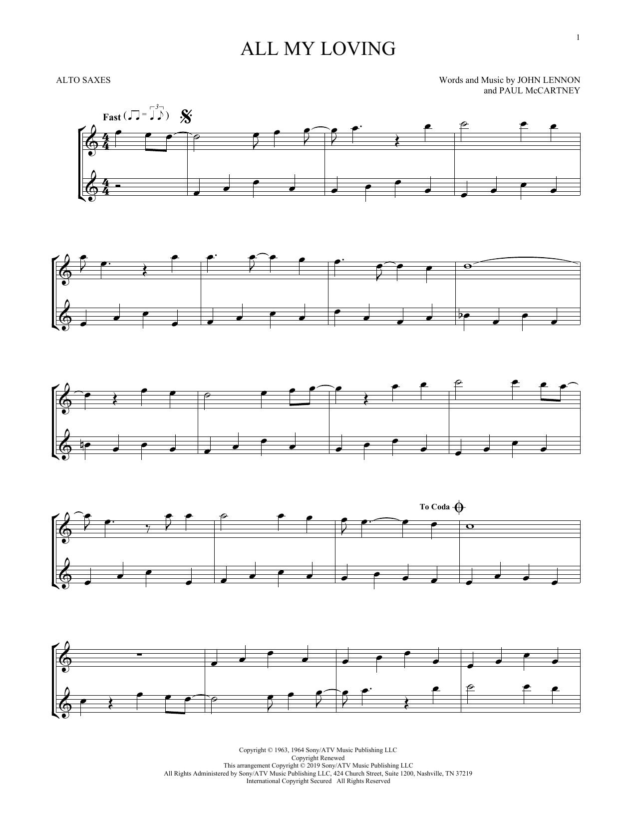 All My Loving (Alto Sax Duet)