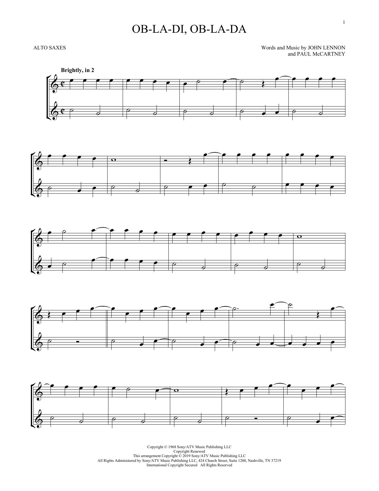 Ob-La-Di, Ob-La-Da (Alto Sax Duet)