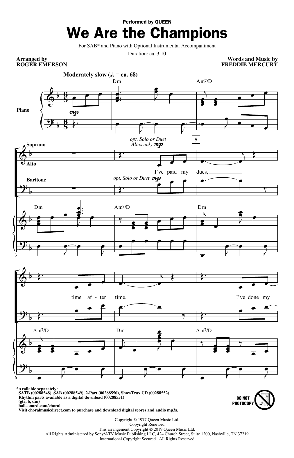 We Are The Champions (arr. Roger Emerson) (SAB Choir)
