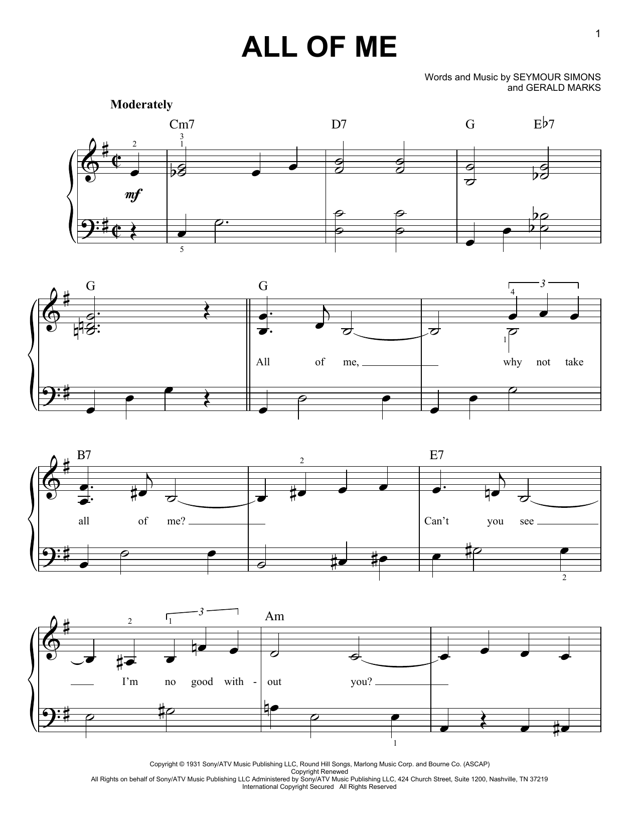 All Of Me (Easy Piano)