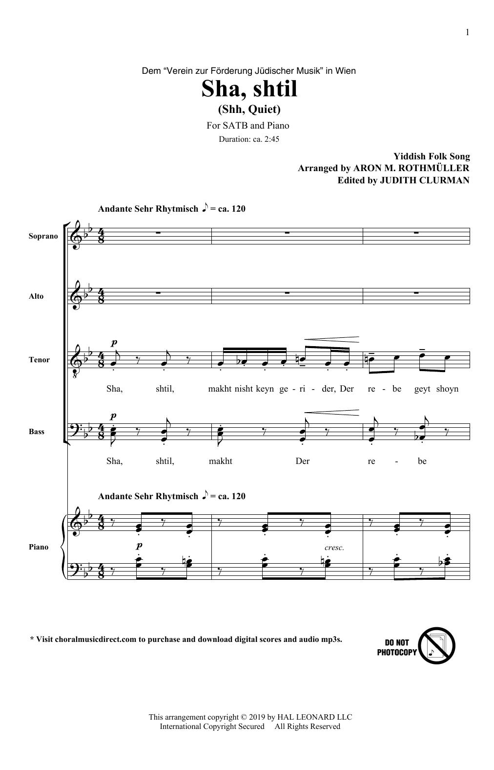 Sha, Shtil (SATB Choir)