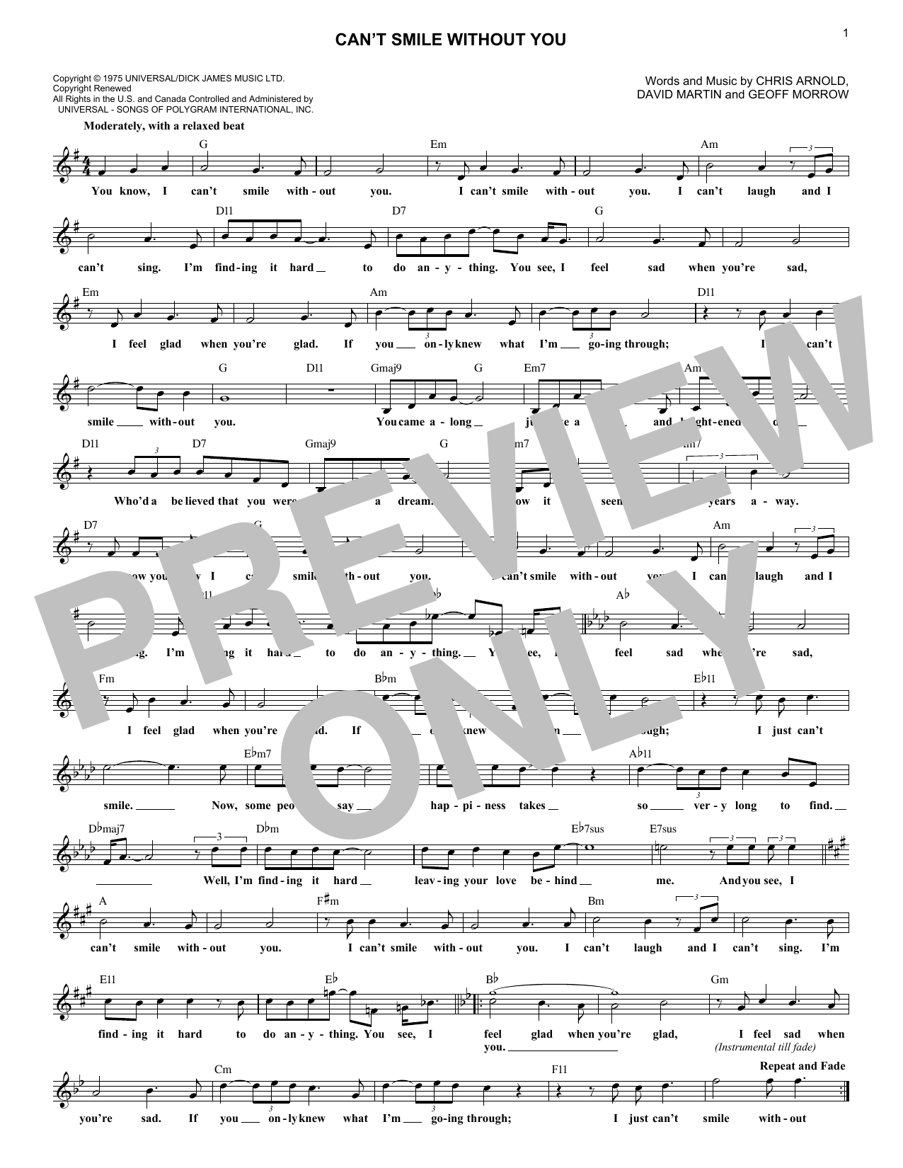 Can't Smile Without You (Lead Sheet / Fake Book)