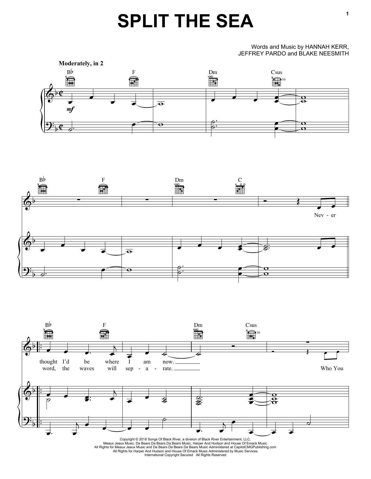 Split The Sea (Piano, Vocal & Guitar (Right-Hand Melody))