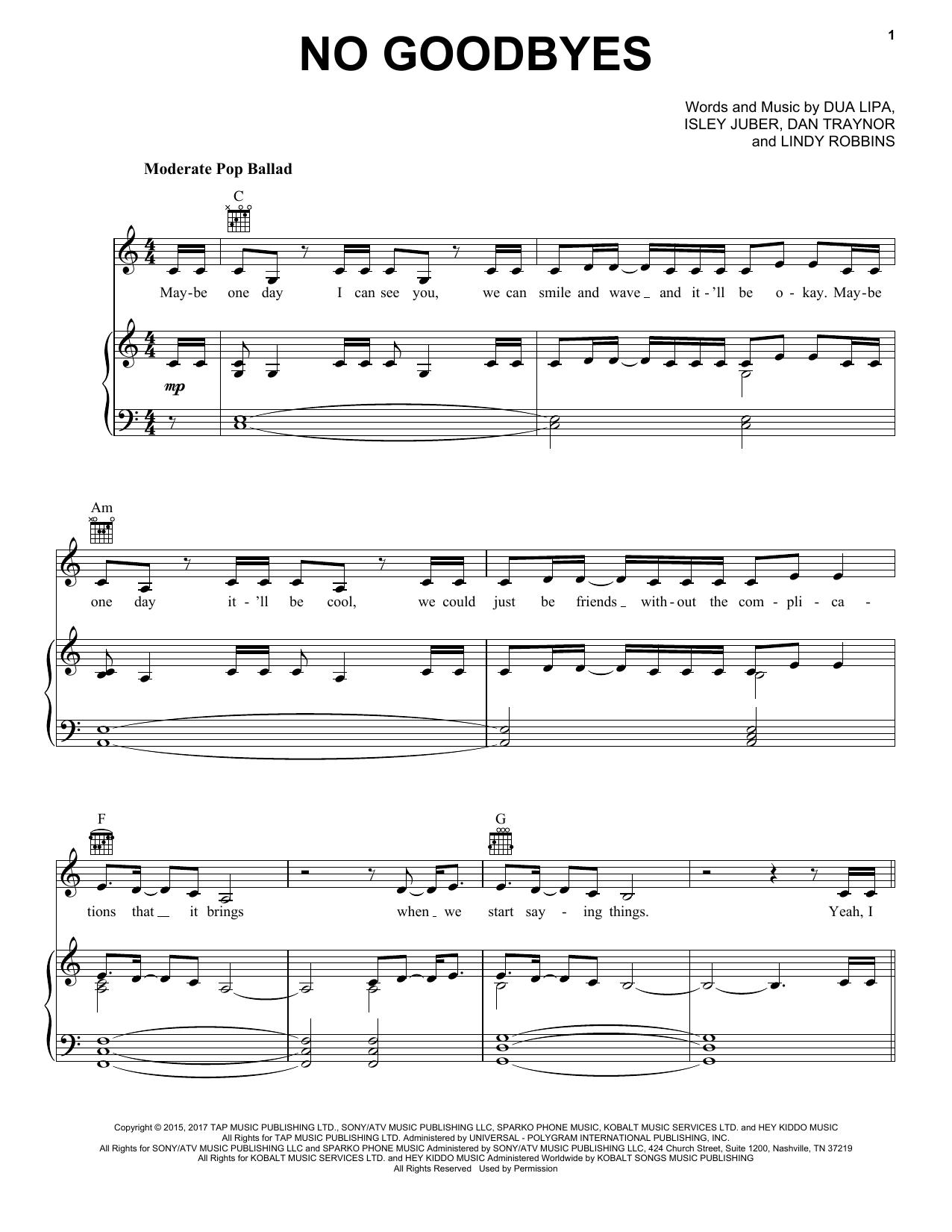No Goodbyes (Piano, Vocal & Guitar (Right-Hand Melody))