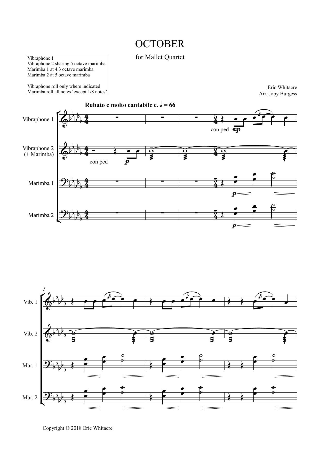October (Alleluia) for Mallet Quartet (arr. Joby Burgess) - Full Score Sheet Music